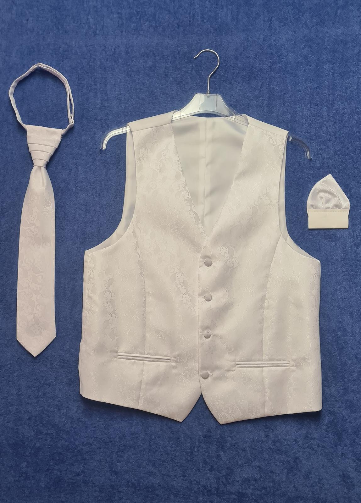 snehobiely set pre zenicha - vesta, kravata, vreckovka v.46 - Obrázok č. 1