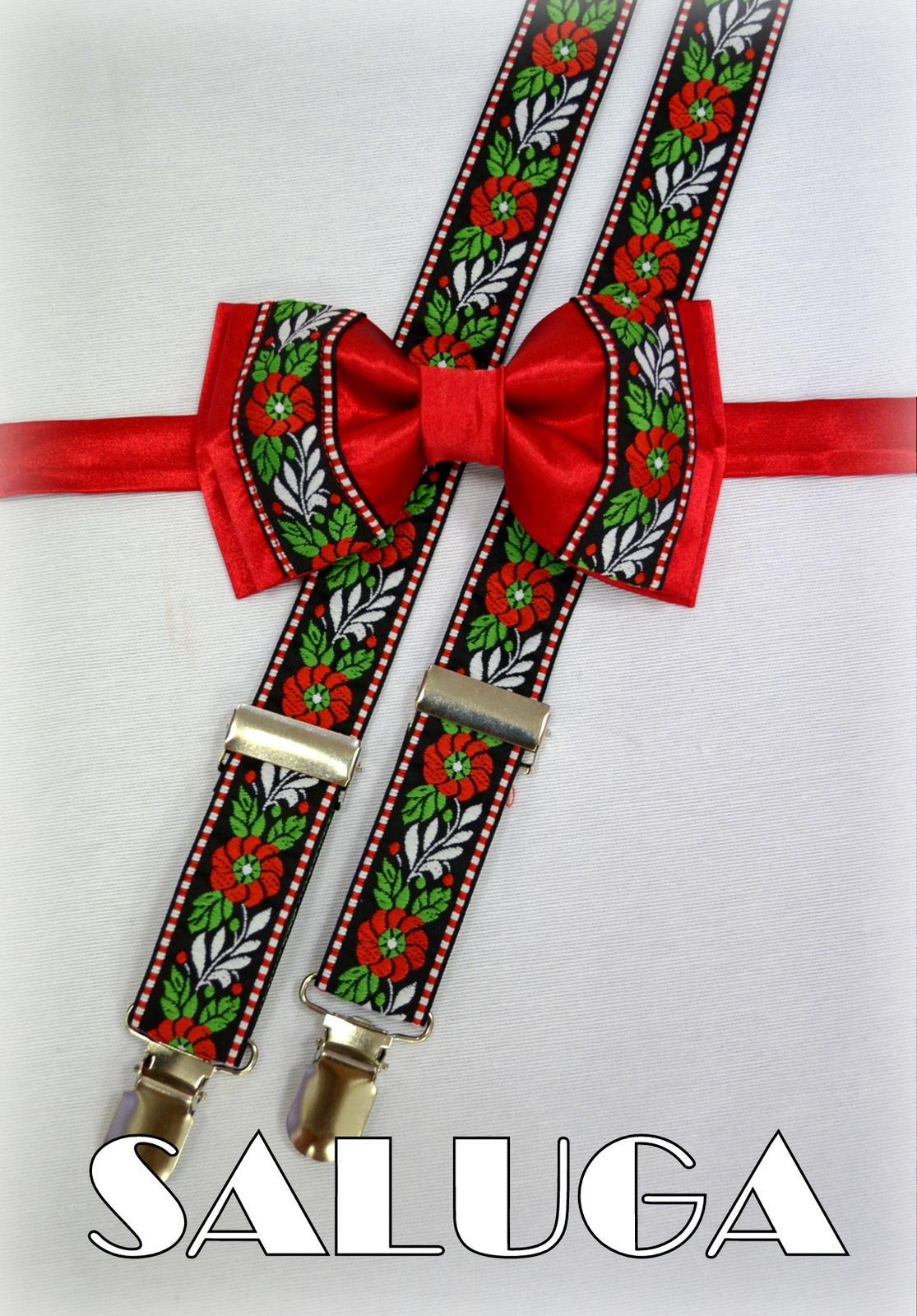 Folkový, folklórrny červený motýlik + traky ľudový - Obrázok č. 1