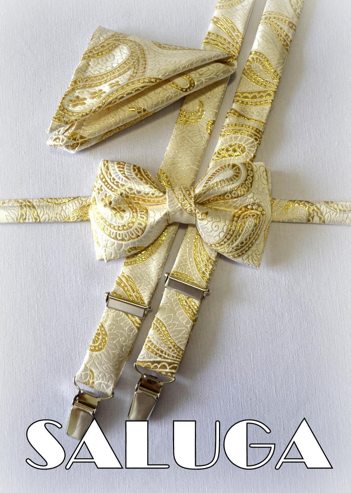 Svadobný zlatý motýlik + traky + vreckovka - Obrázok č. 1