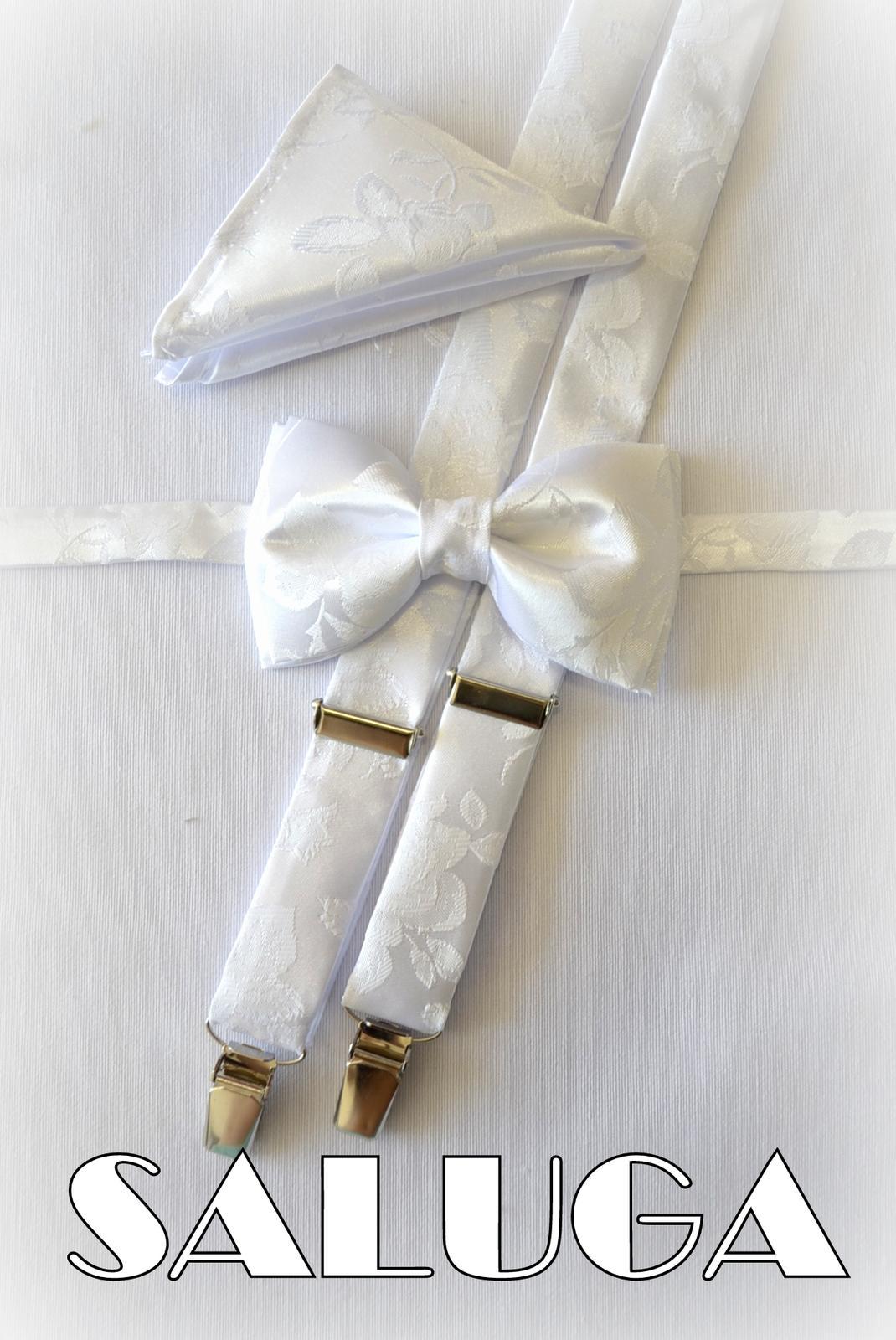 Svadobný biely motýlik pre ženícha + traky + vreck - Obrázok č. 1