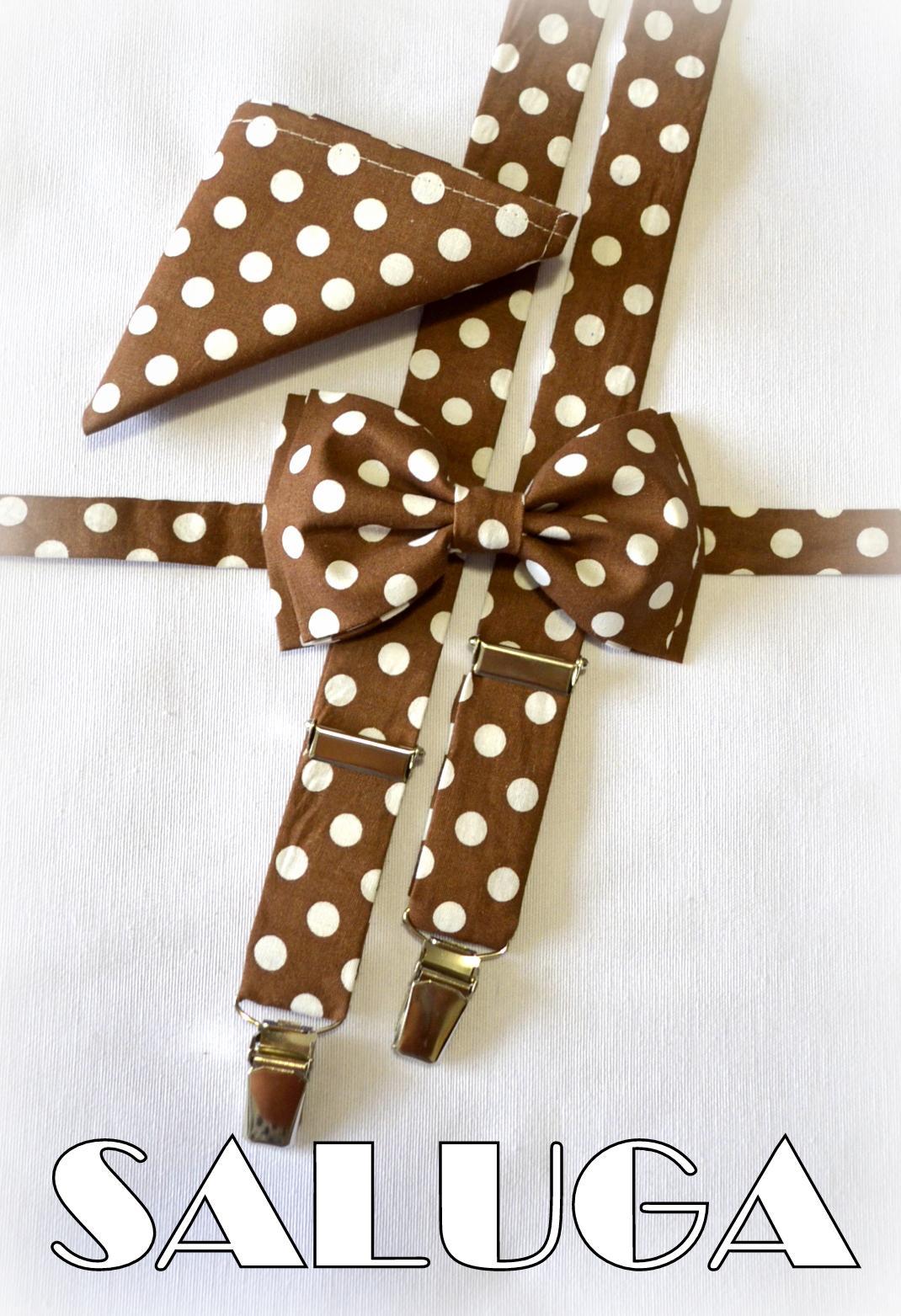 Hnedý motýlik + traky + vreckovka na bodky - Obrázok č. 1