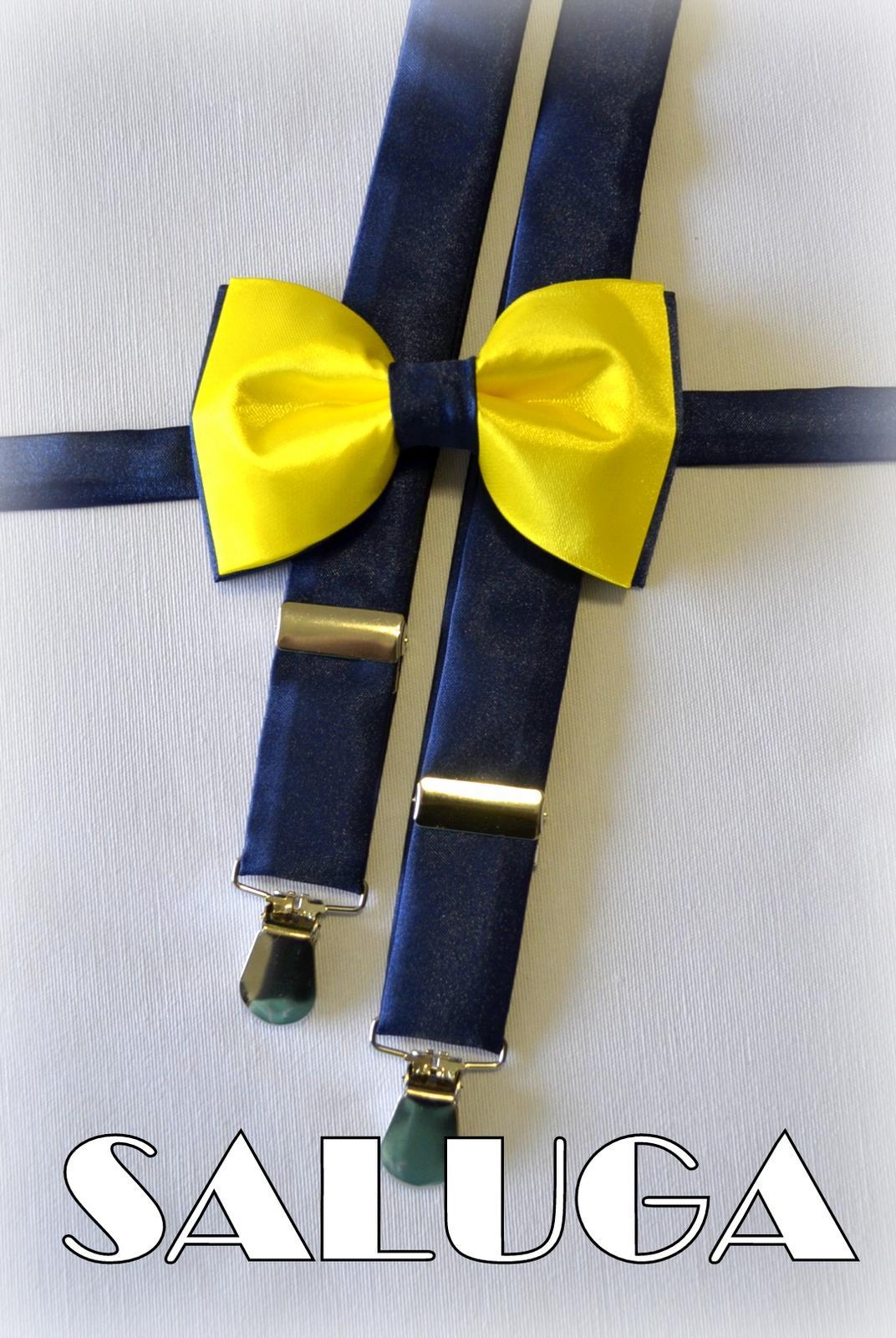 Pánsky motýlik + traky modrý, žltý - Obrázok č. 1