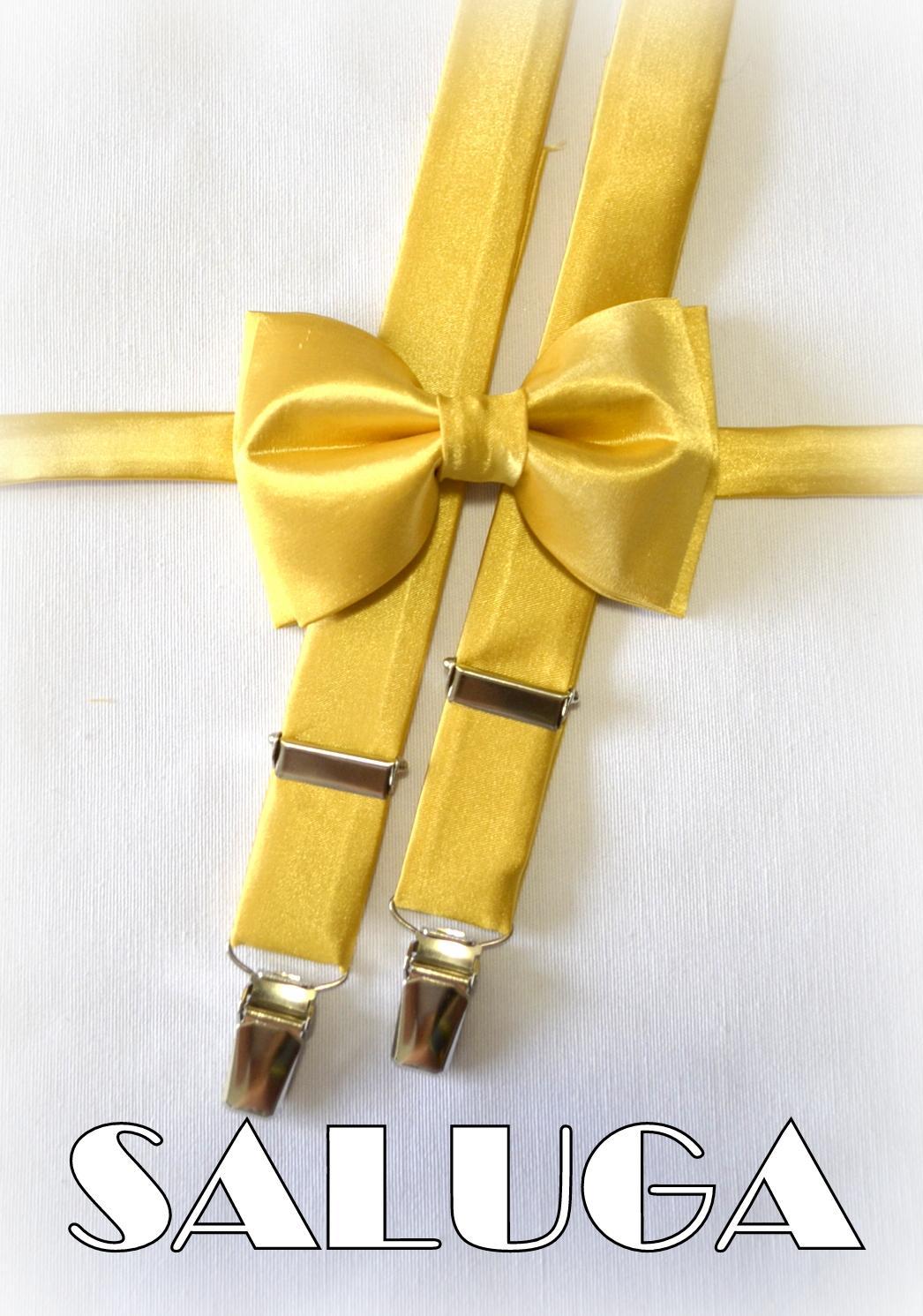 Zlatý pánsky motýlik + traky - set - Obrázok č. 1