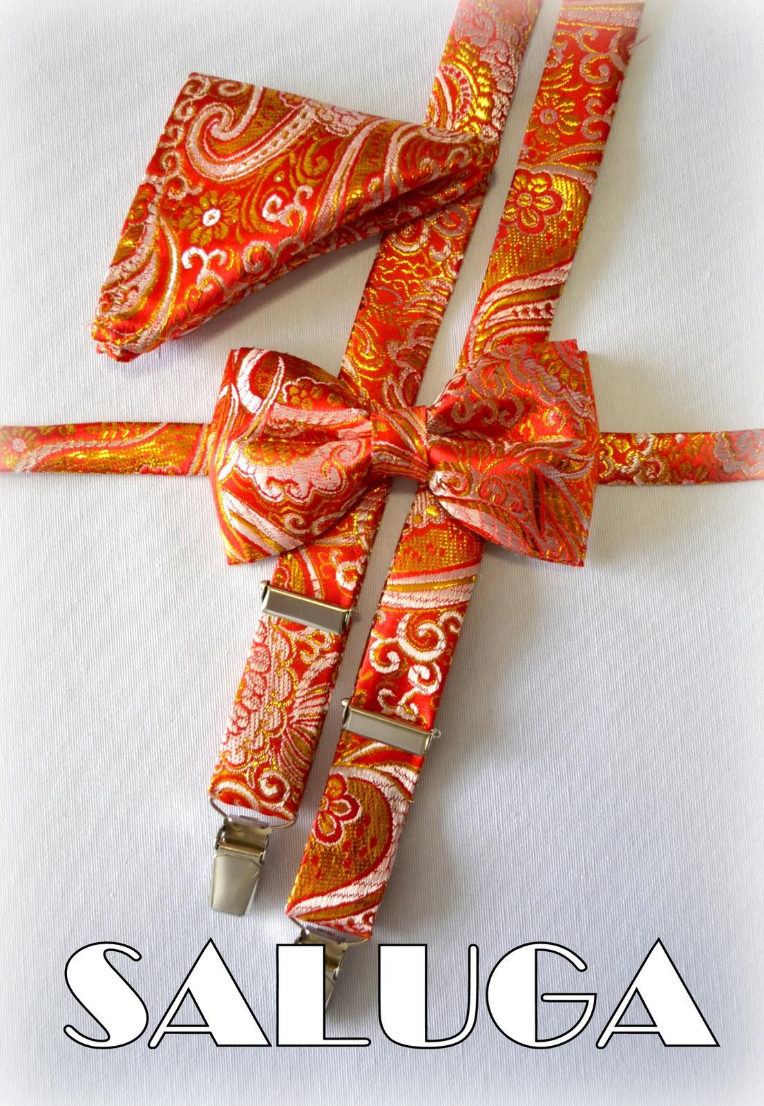 Červený motýlik + traky a vreckovka so zlatým - Obrázok č. 1