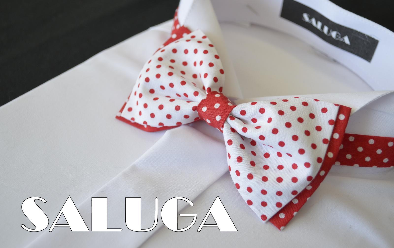 Červeno biely motýlik bodkovaný - retro - Obrázok č. 1
