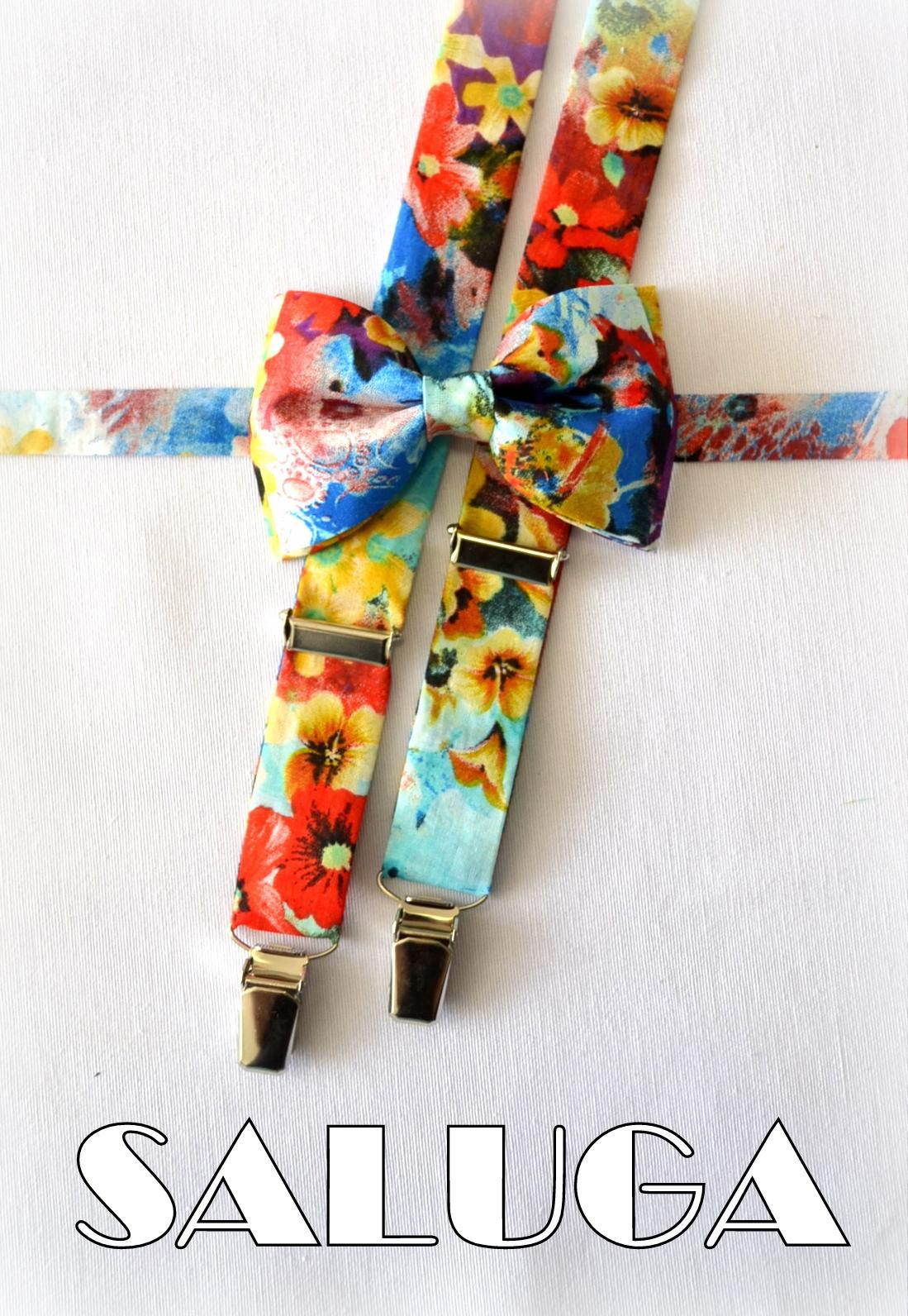 Farebný, kvetinový motýlik + traky - Obrázok č. 1
