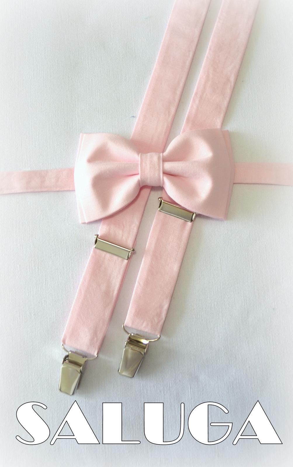Ružový pánsky motýlik + traky - Obrázok č. 1
