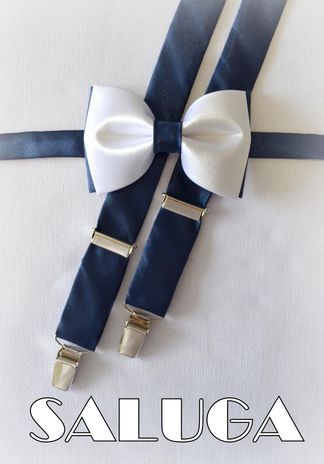 Bielo modrý pánsky motýlik + traky - Obrázok č. 1