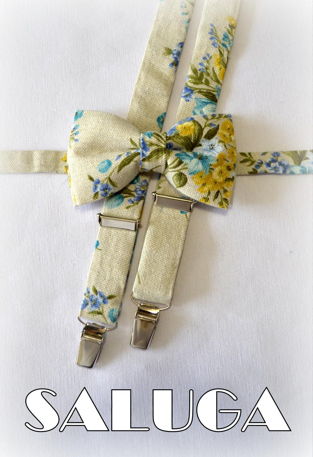 Vintage style - pánsky motýlik + traky - modrý - Obrázok č. 1