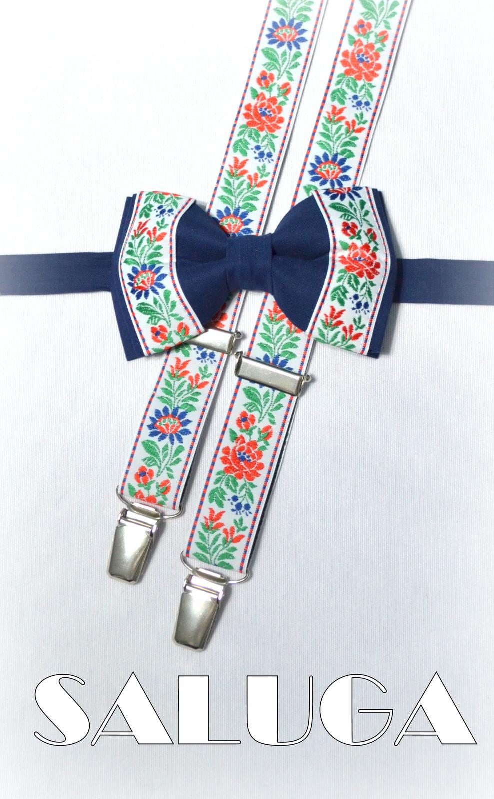 Folklórny modrý pánsky motýlik + traky - ľudový - Obrázok č. 1