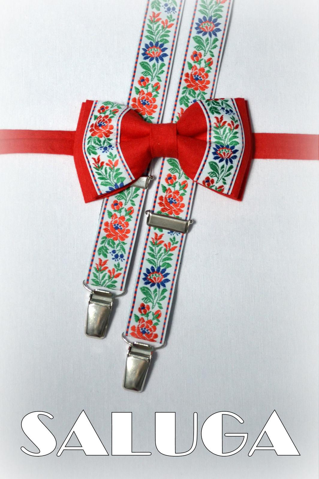 Folklórny pánsky červený motýlik - folkový ľudový  - Obrázok č. 1