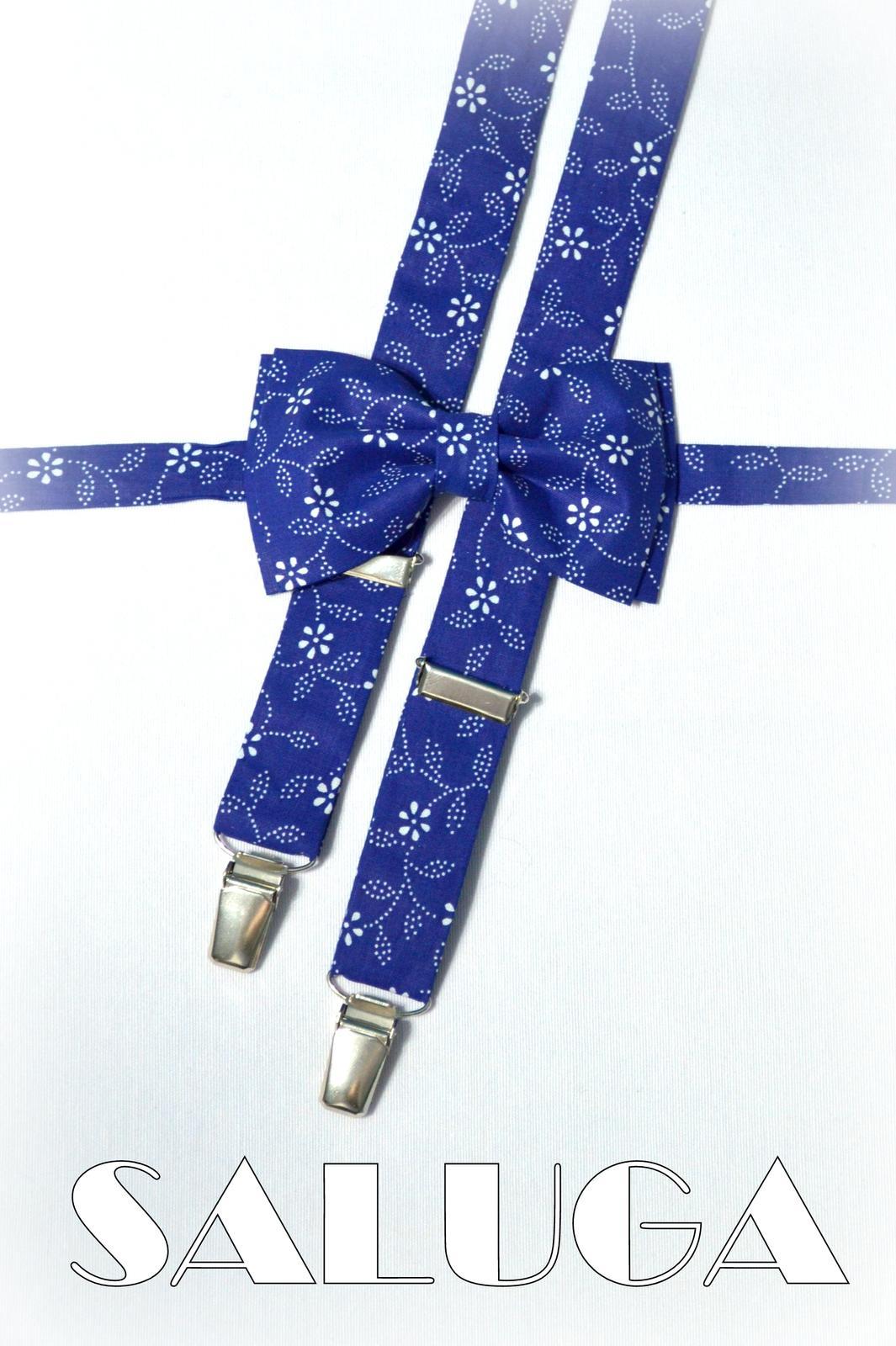 Pánsky motýlik + traky modrý - folklórny - Obrázok č. 1