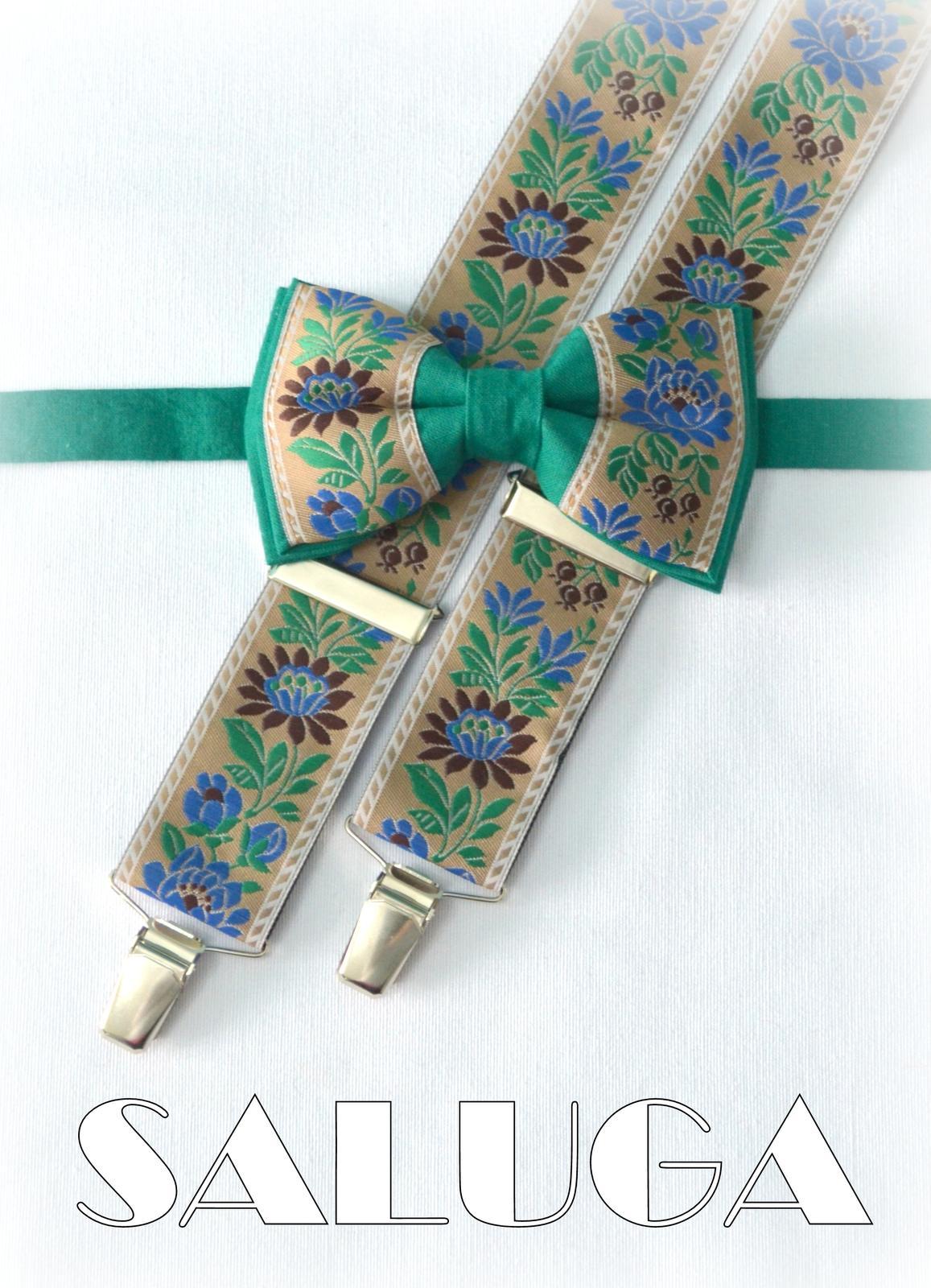 Folklórny pánsky zelený motýlik a traky folk - Obrázok č. 1