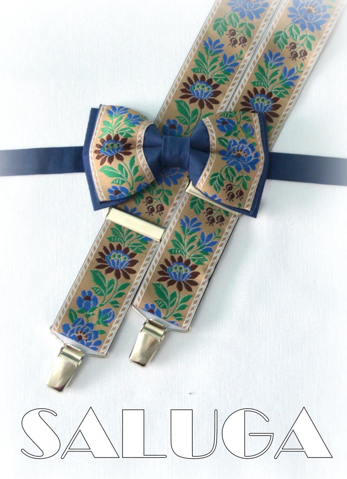 Folklórny pánsky modrý hnedý motýlik a traky  - Obrázok č. 1