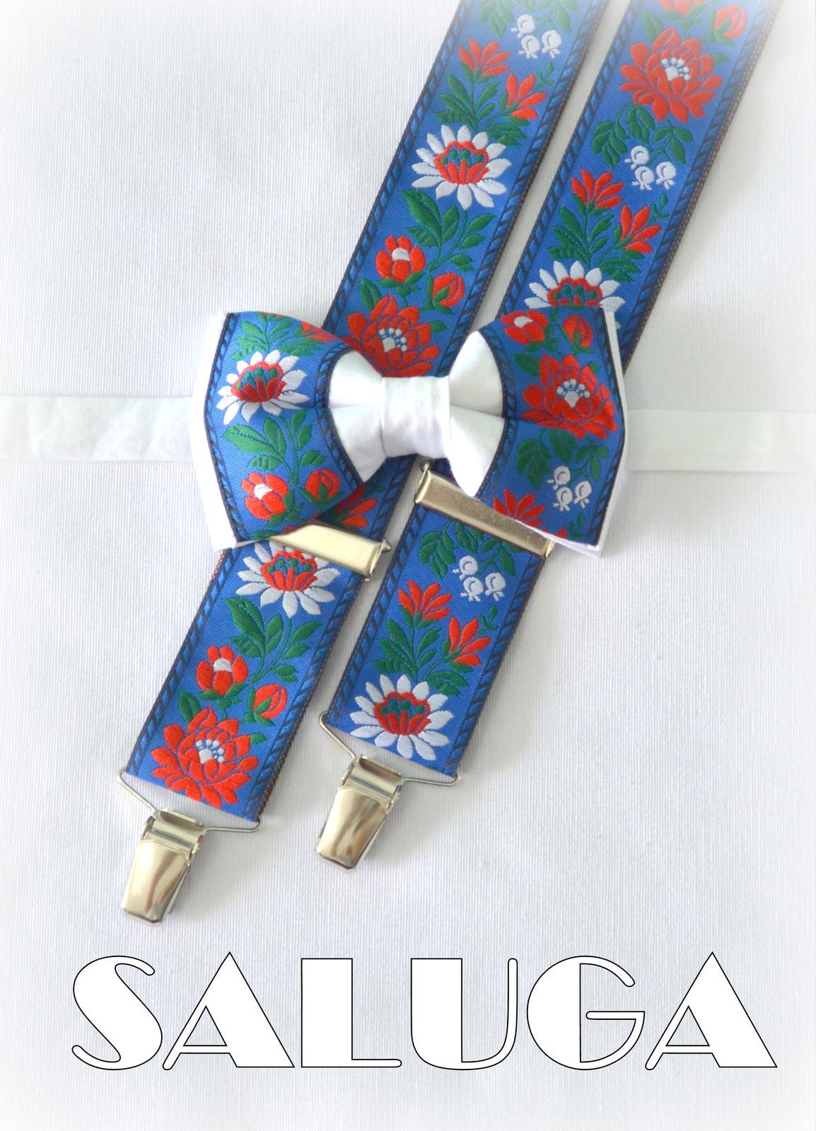 Folklórny pánsky modrý biely motýlik a traky - Obrázok č. 1