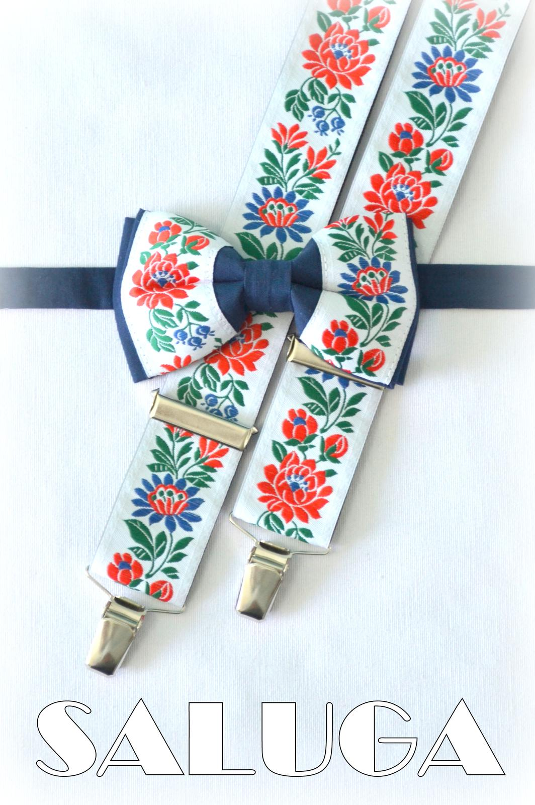 Folklórny pánsky modrý motýlik a traky folk - Obrázok č. 1