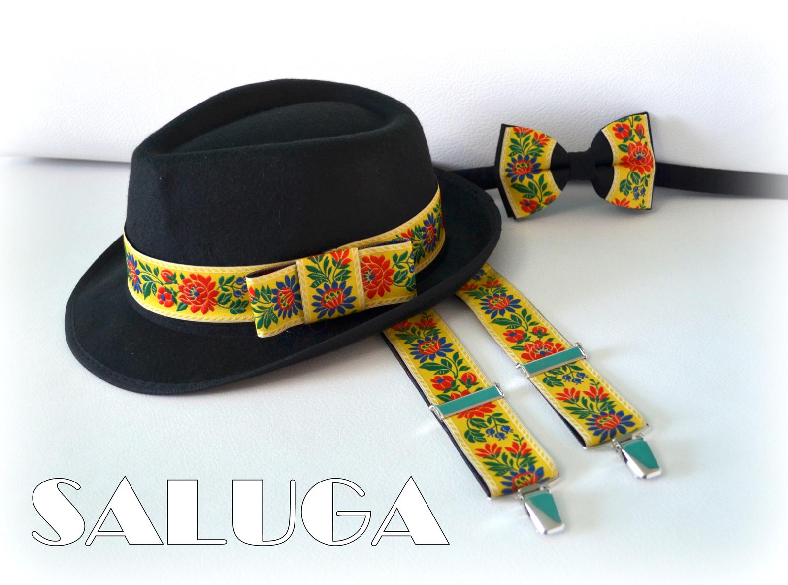 Pánsky folklórny motýlik + traky + klobúk - Obrázok č. 1