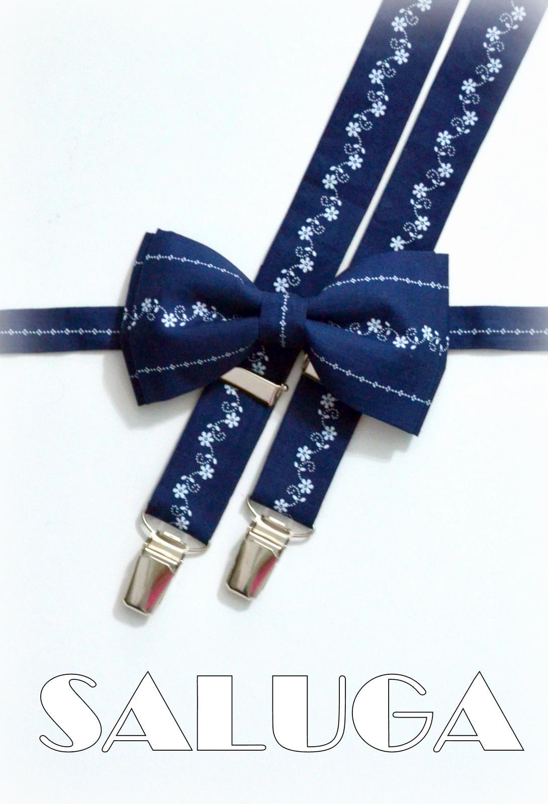Pánsky tmavo modrý motýlik a traky modrotlač folk - Obrázok č. 1