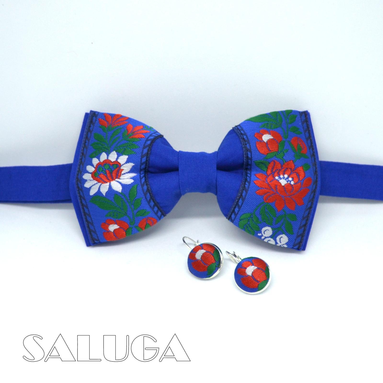 Modrý folklórny motýlik + náušnice - set - Obrázok č. 1