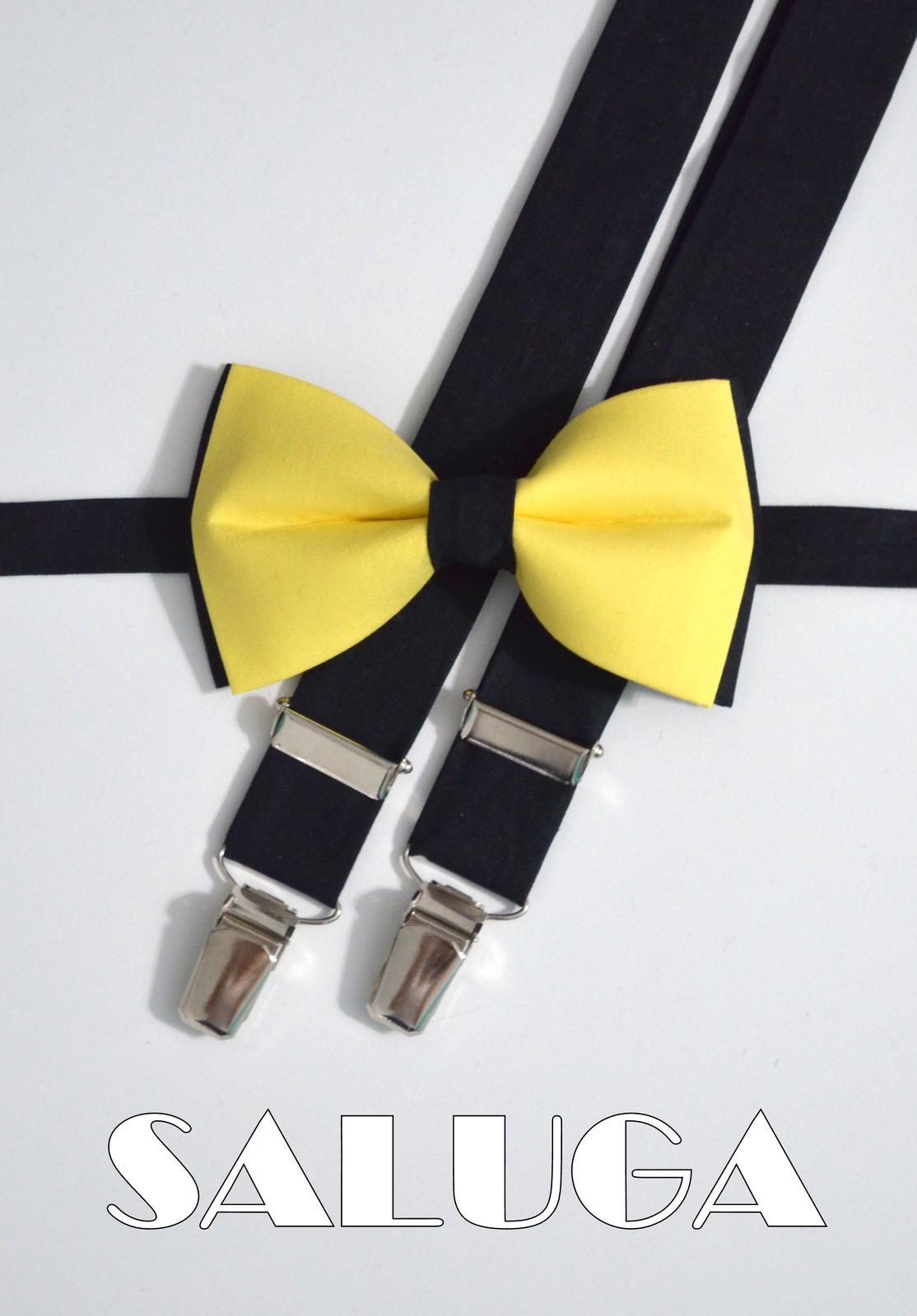 Žlto čierny set - motýlik a traky - Obrázok č. 1