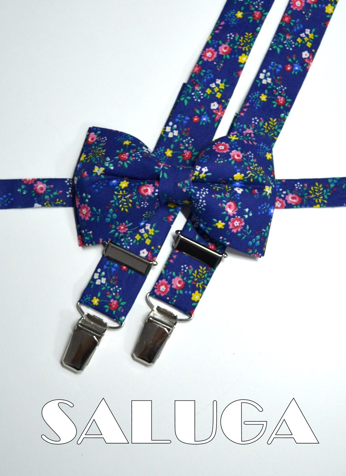 Pánsky kvetinový motýlik a traky - modrý - Obrázok č. 1