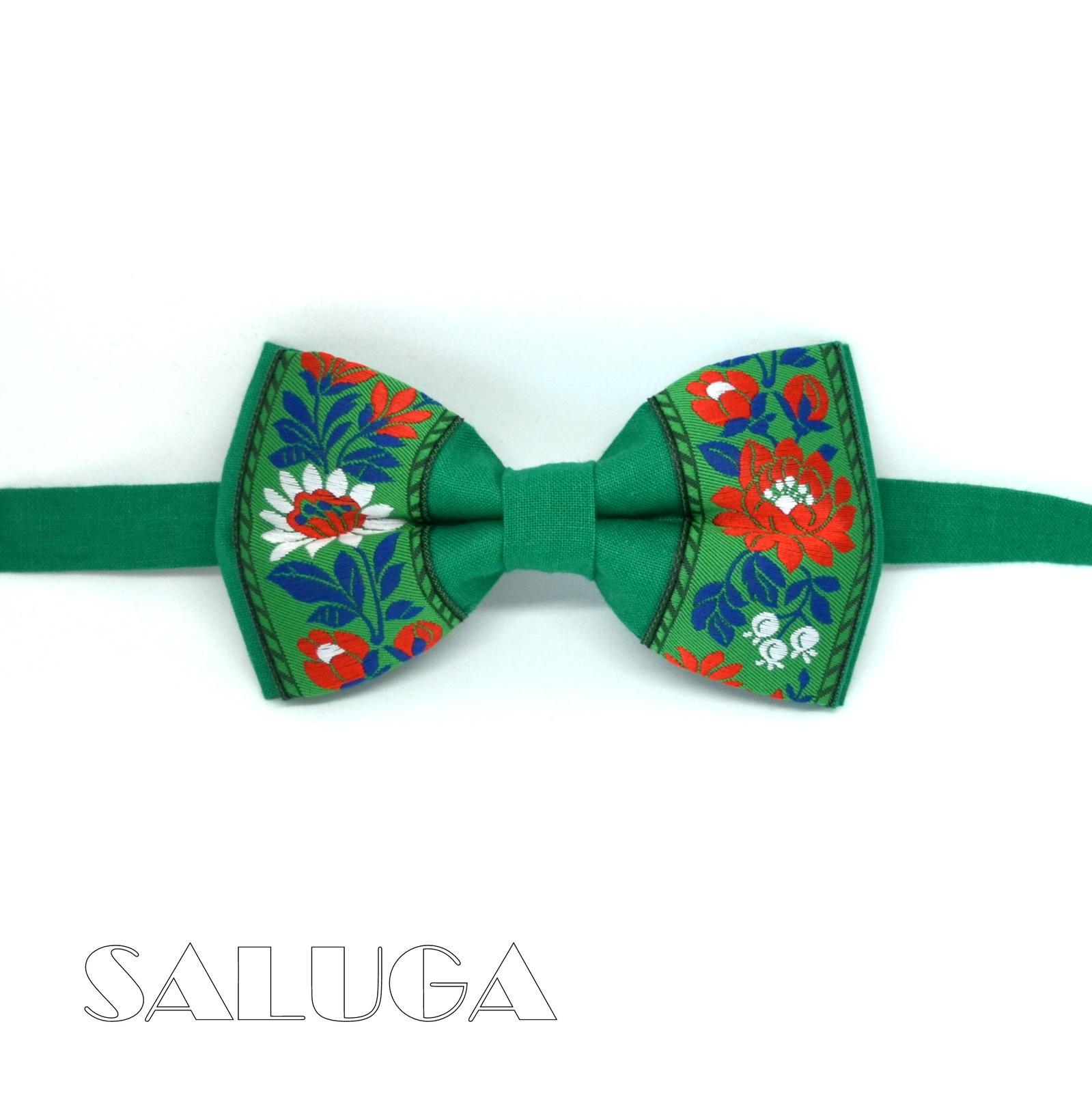 Folklórny pánsky zelený motýlik  - Obrázok č. 1