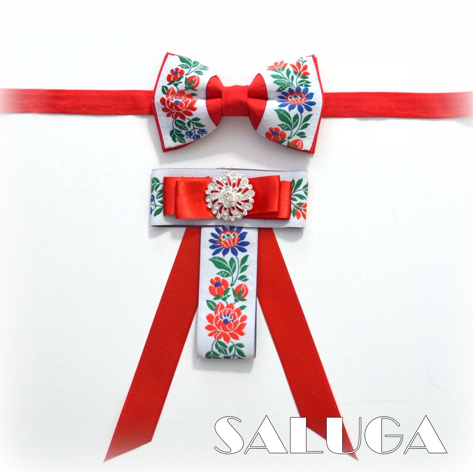 Dámsky a pánsky motýlik - folk - červený - Obrázok č. 1