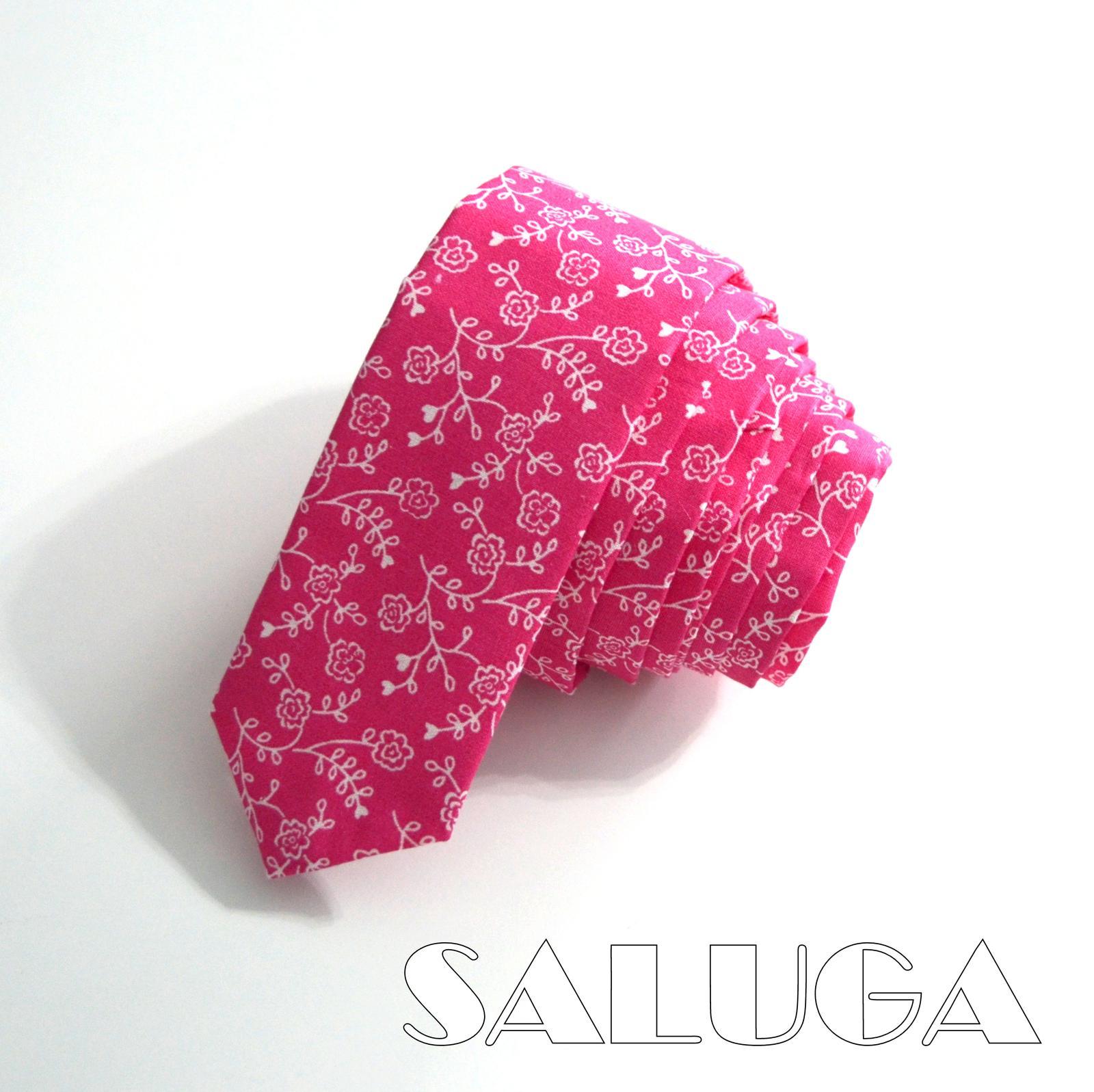 Cyklamenová slim kravata - vzorovaná - Obrázok č. 1