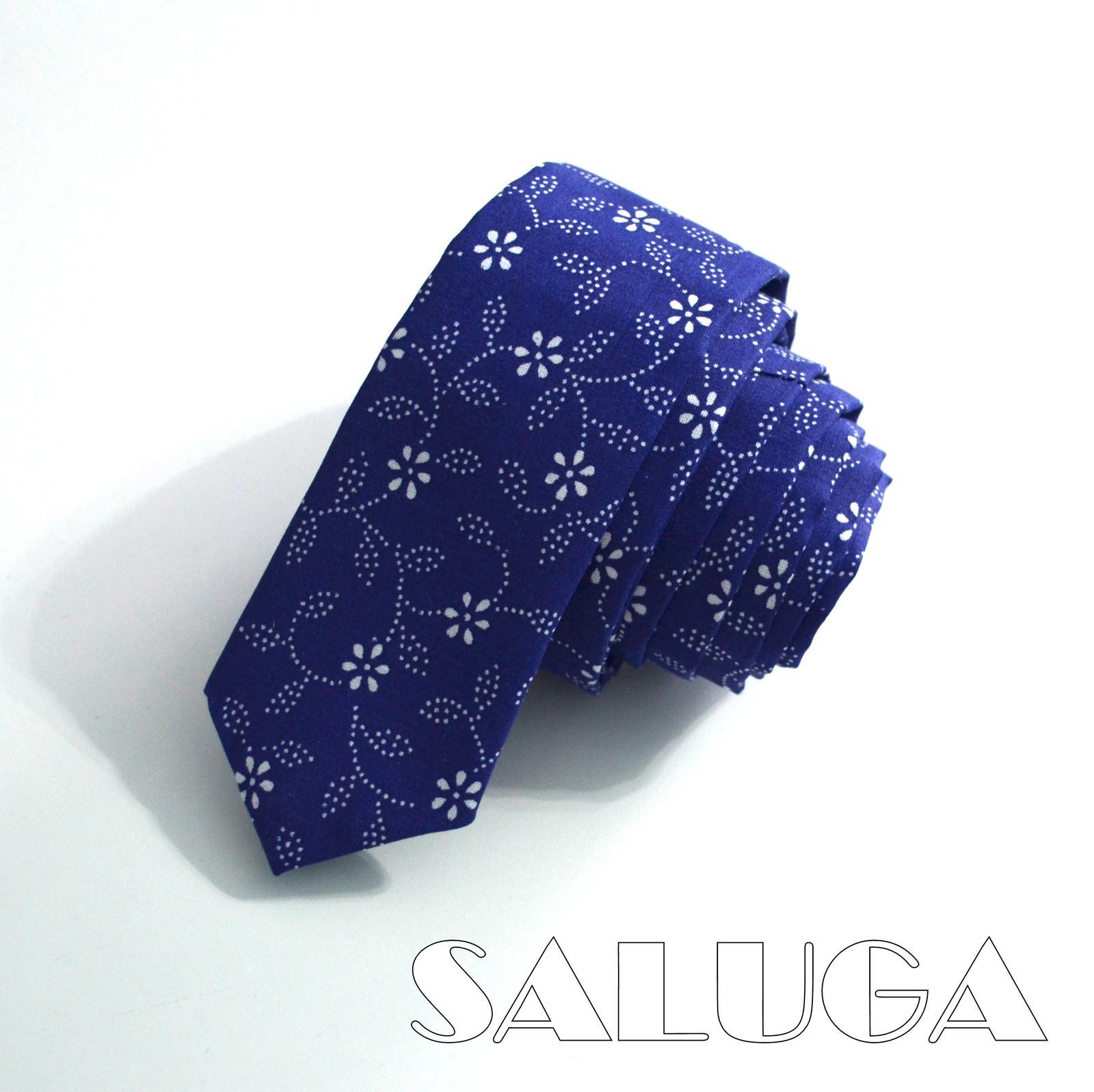 Folklórna slim kravata - modrotlač - Obrázok č. 1