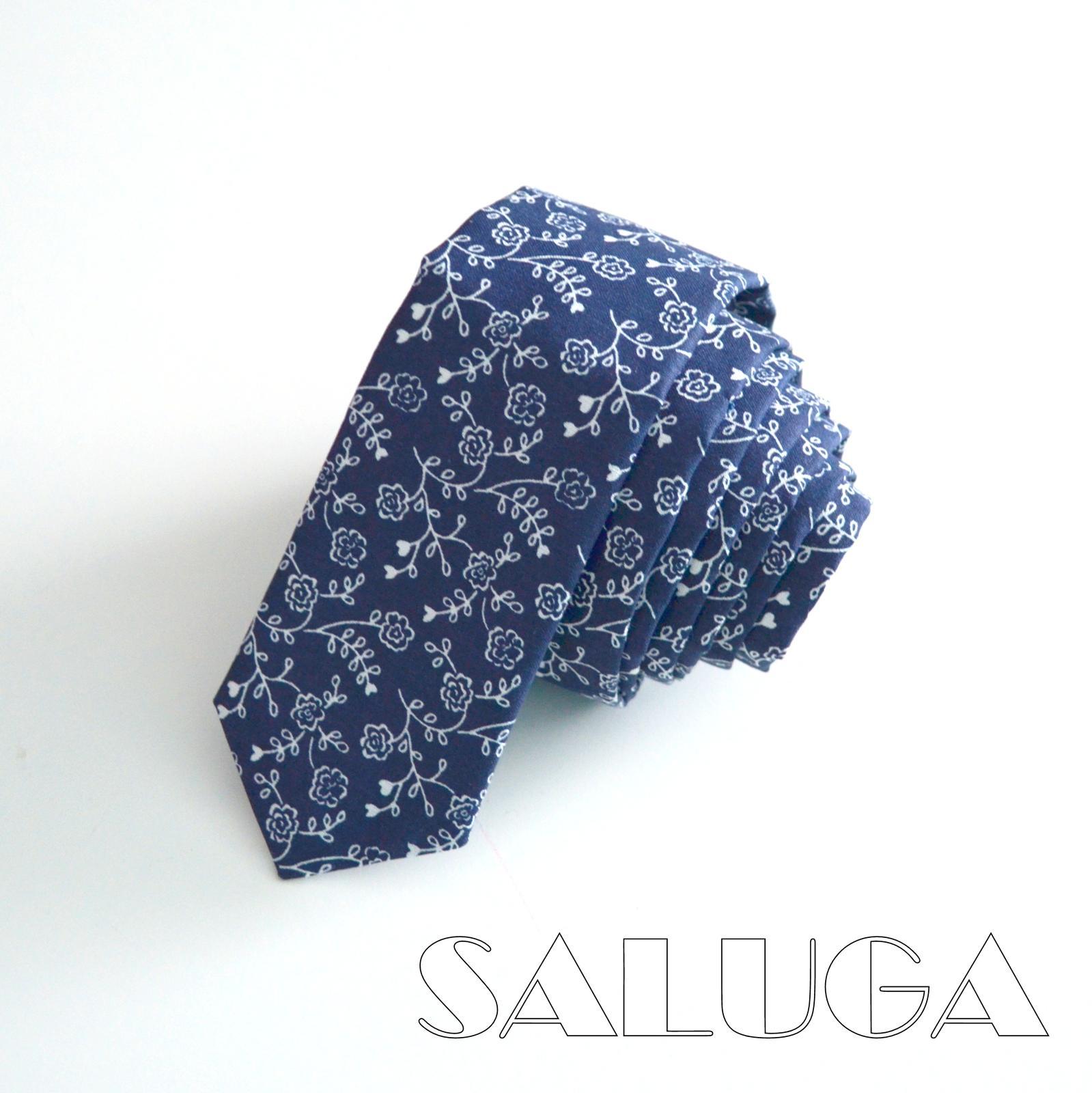 Modrá vzorovaná slim kravata - folk - modrotlač - Obrázok č. 1