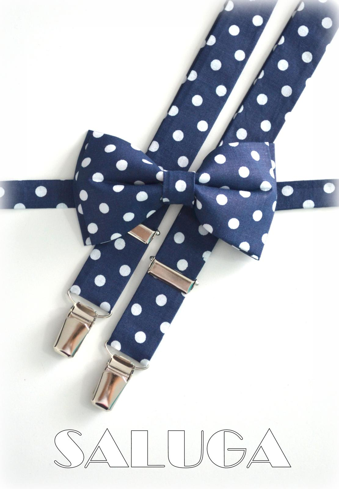 Tmavo modrý motýlik na biele guľky - bodky - Obrázok č. 1