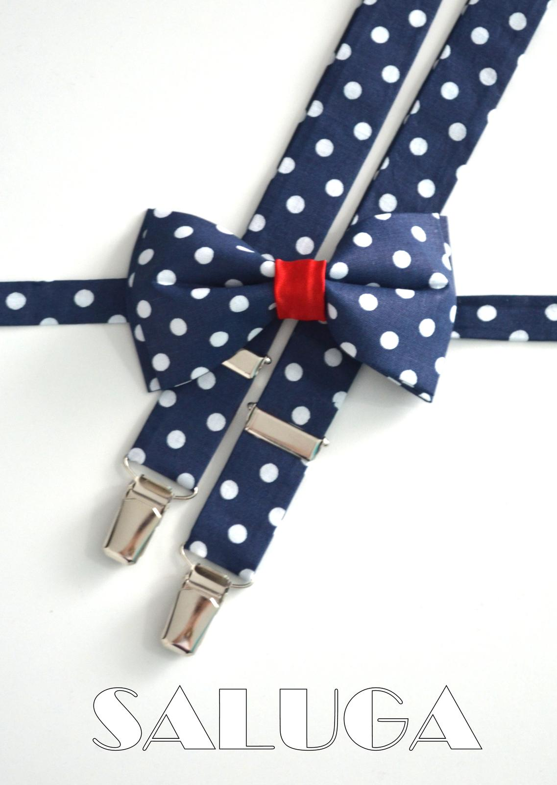 Tmavo modrý motýlik na biele guľky - červený - Obrázok č. 1