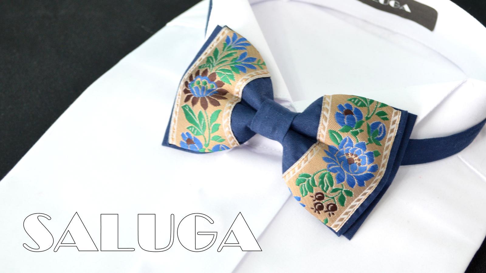 Folklórny pánsky modrý motýlik s hnedým - Obrázok č. 1
