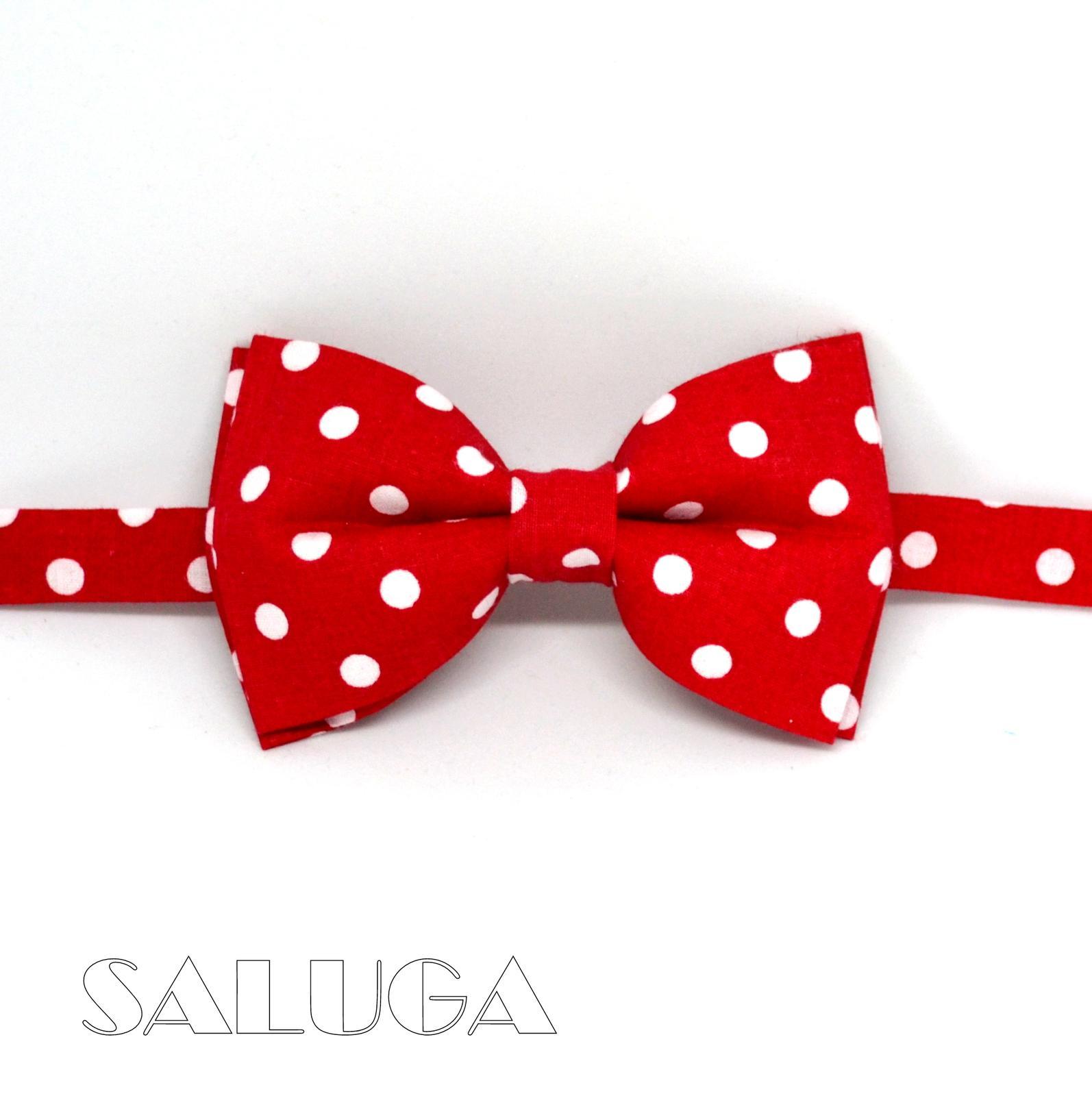 Pánsky červený motýlik na biele guľky - retro - Obrázok č. 1