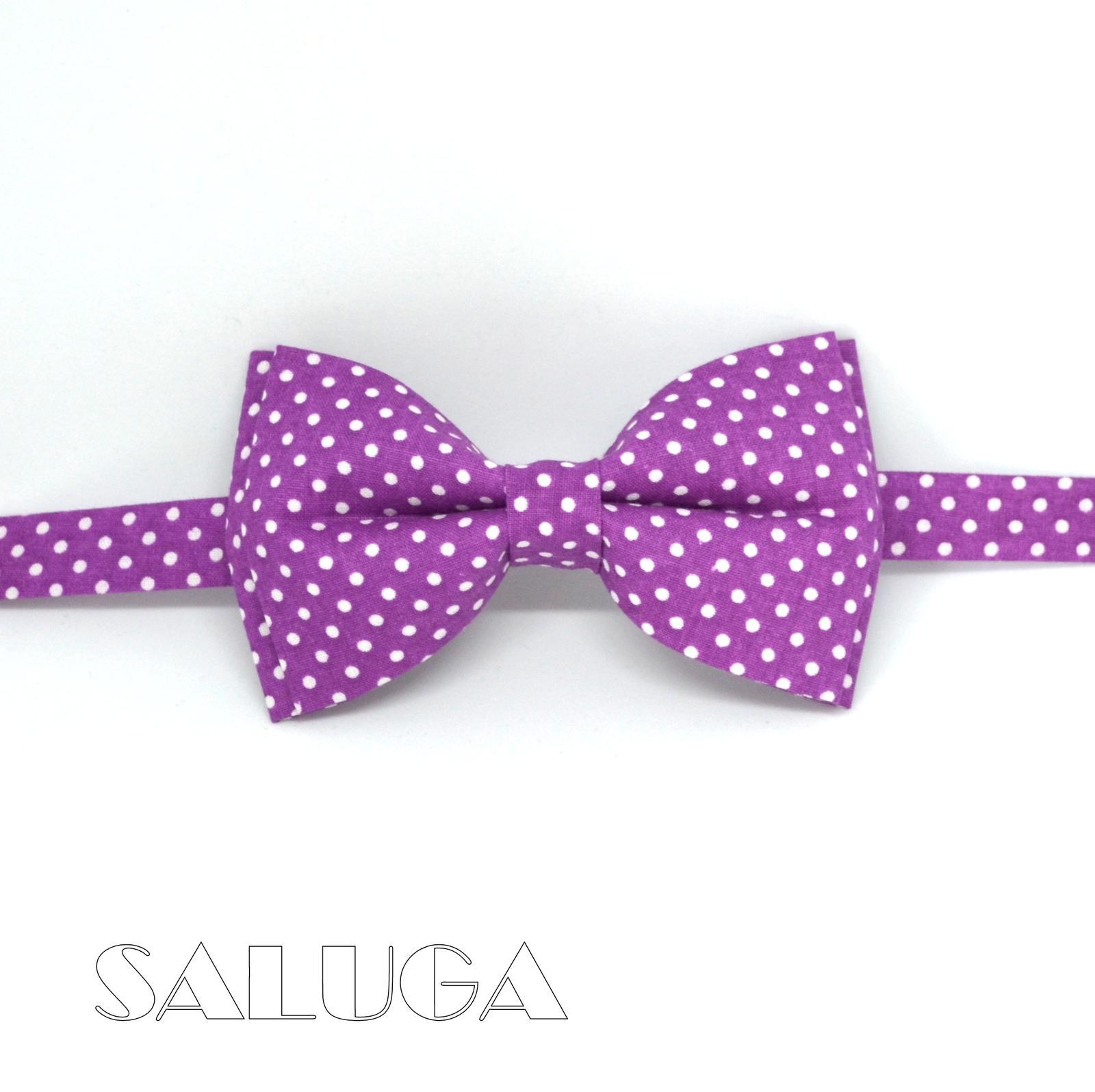Pánsky fialový bodkovaný motýlik - ultra violet - Obrázok č. 1