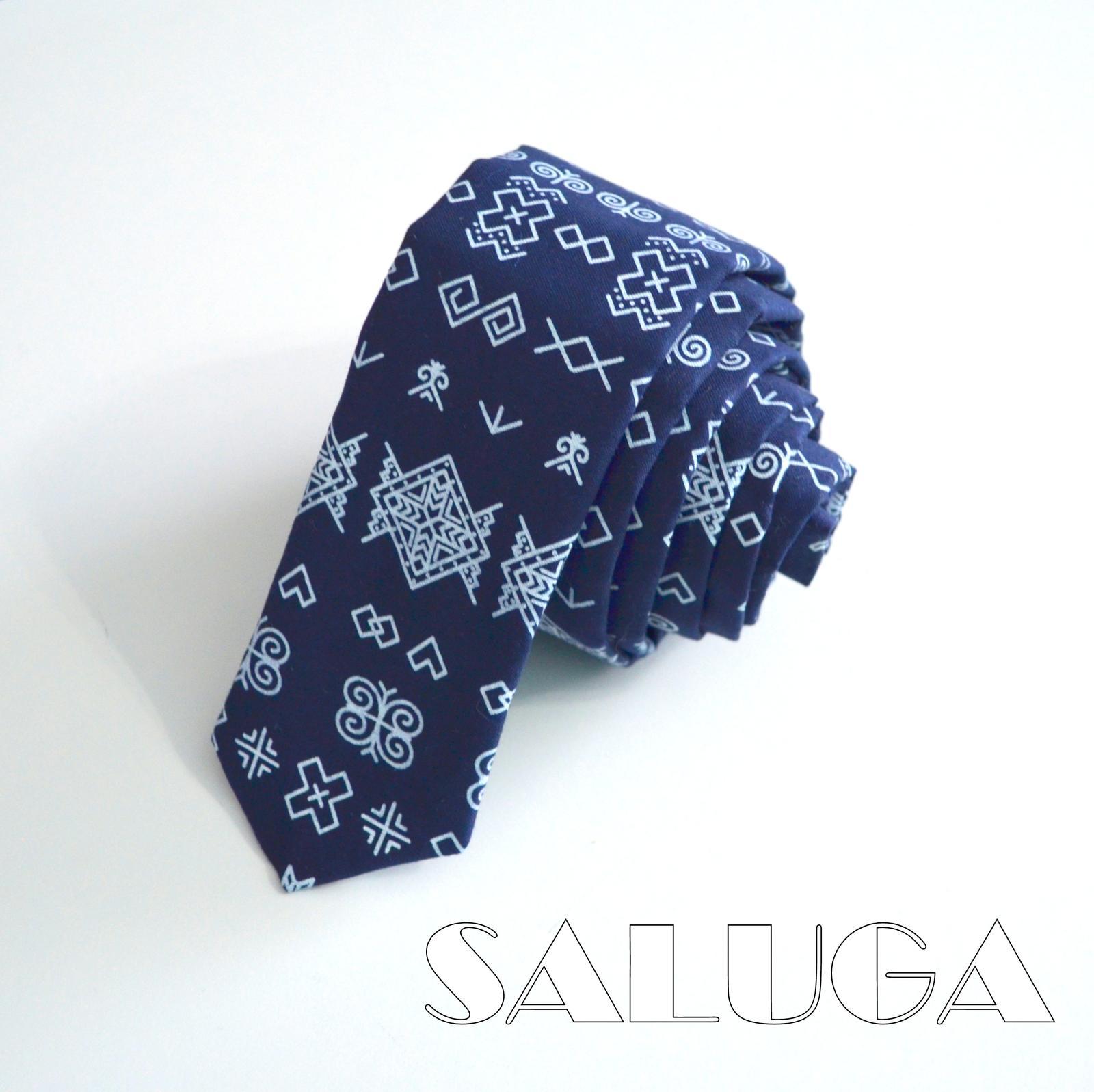 Pánska slim kravata - folk - ČIČMANY - Obrázok č. 1
