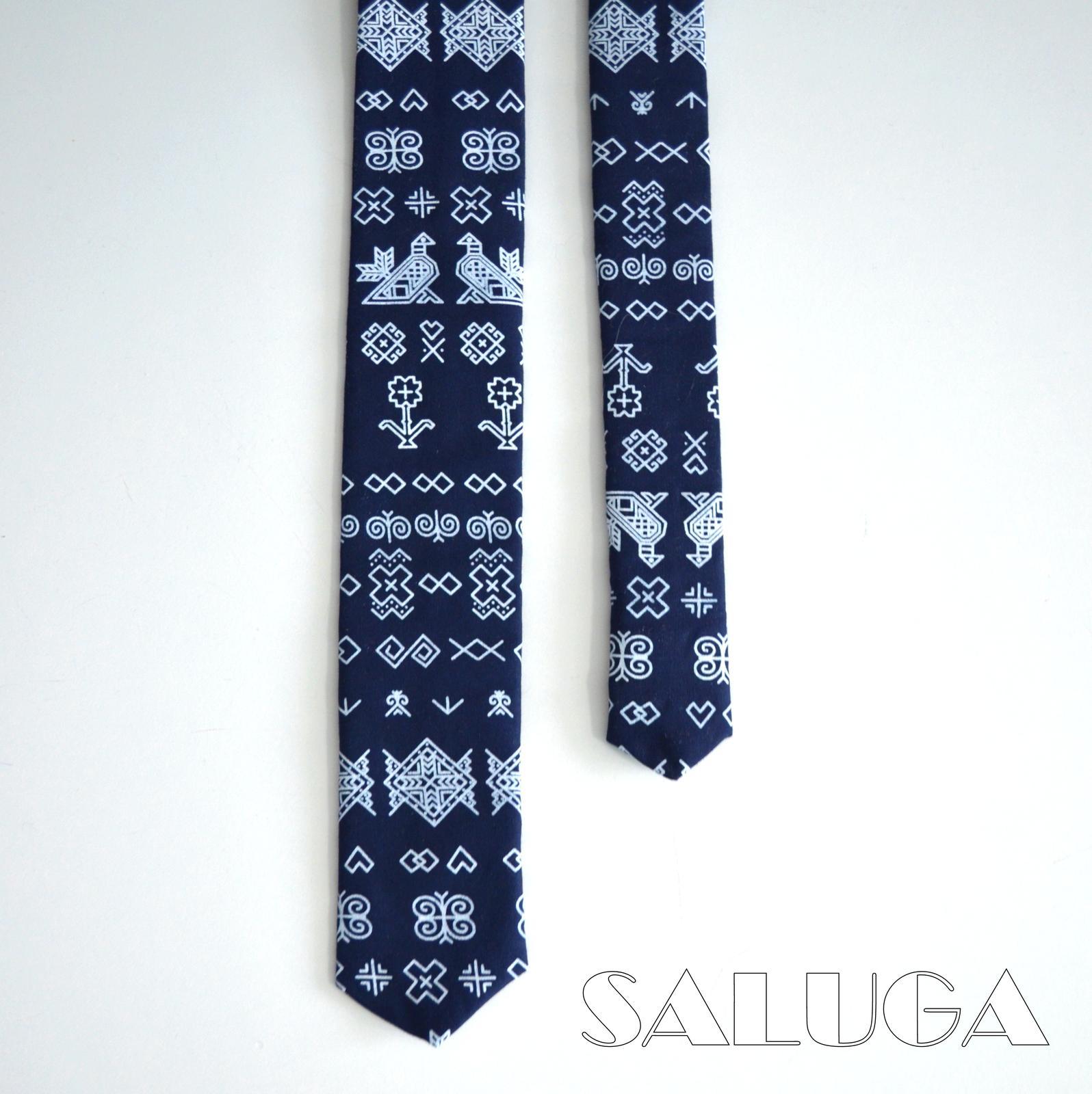 Pánska slim kravata - folk - ČIČMANY - Obrázok č. 2