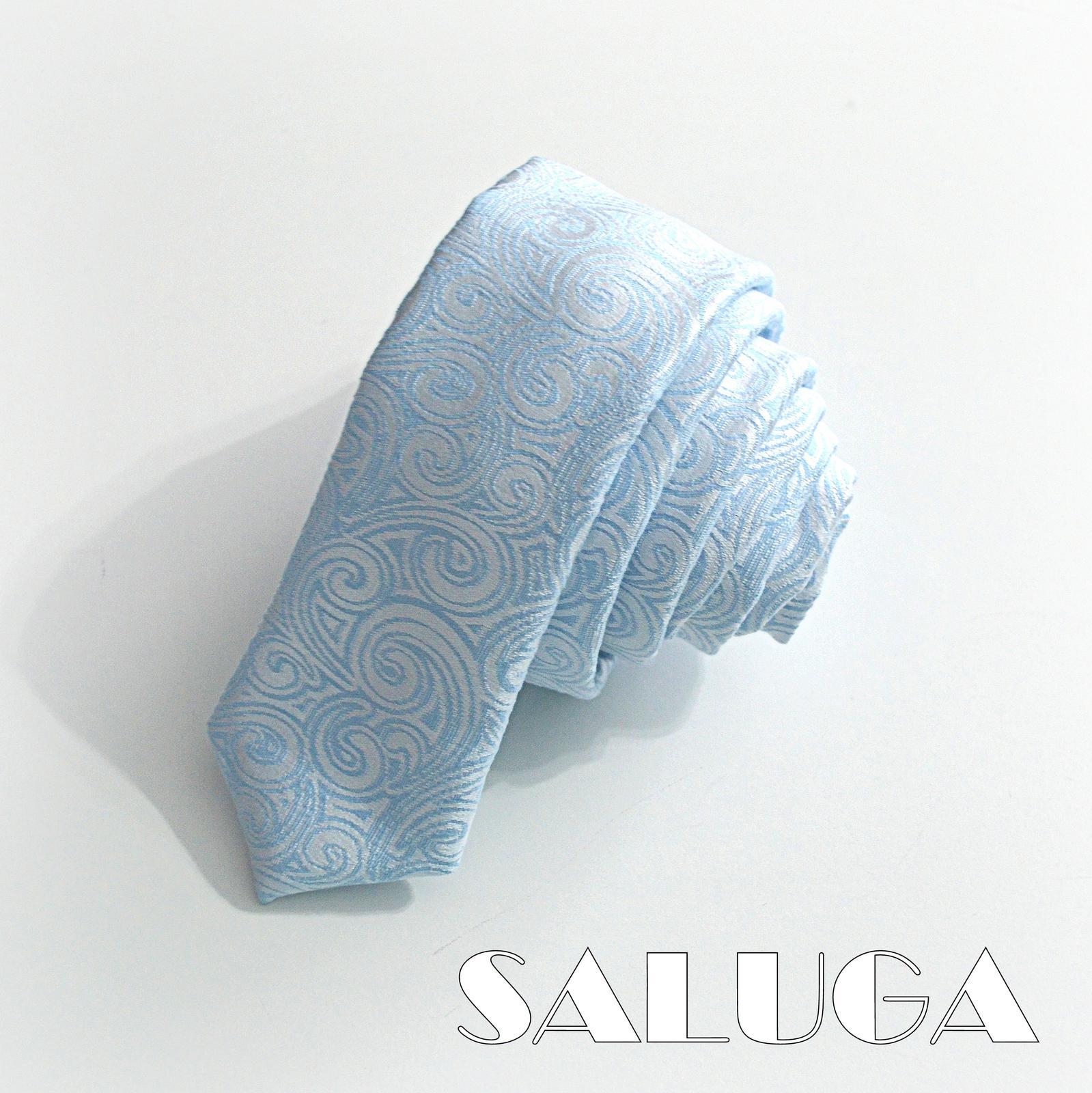 Svadobný slim kravata - vzorovaná - modrá - Obrázok č. 1
