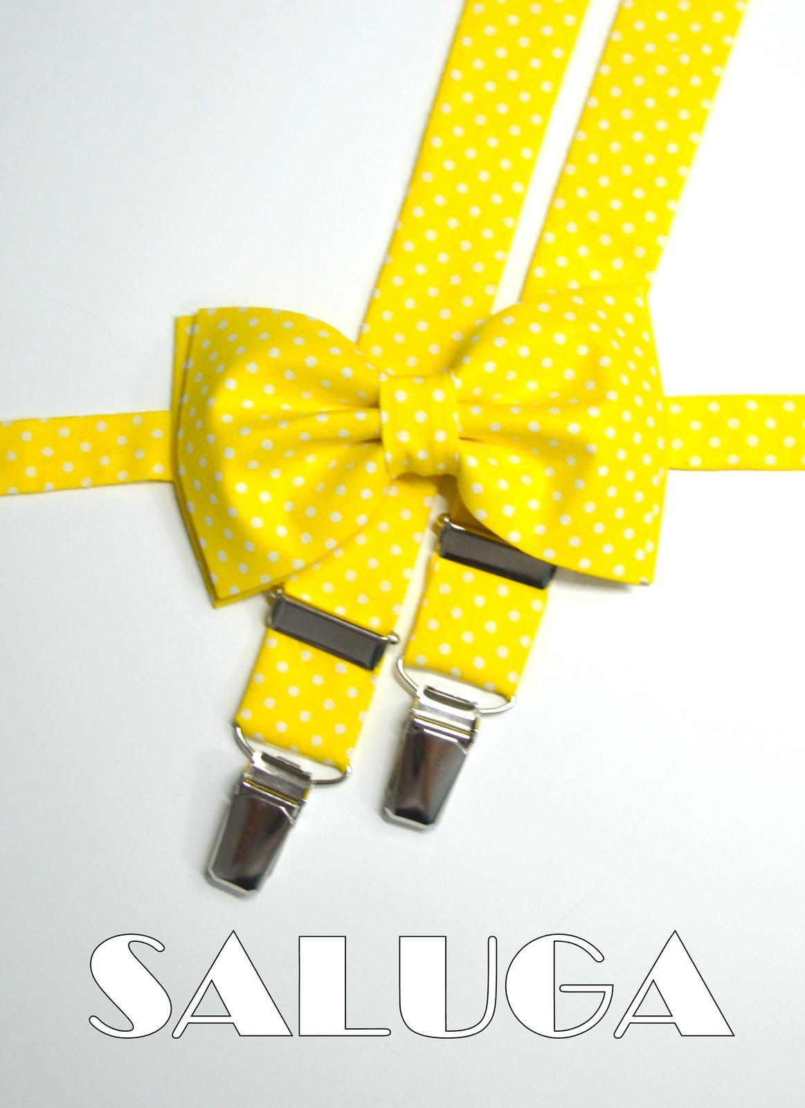 Žltý motýlik + traky - bodkovaný - Obrázok č. 1