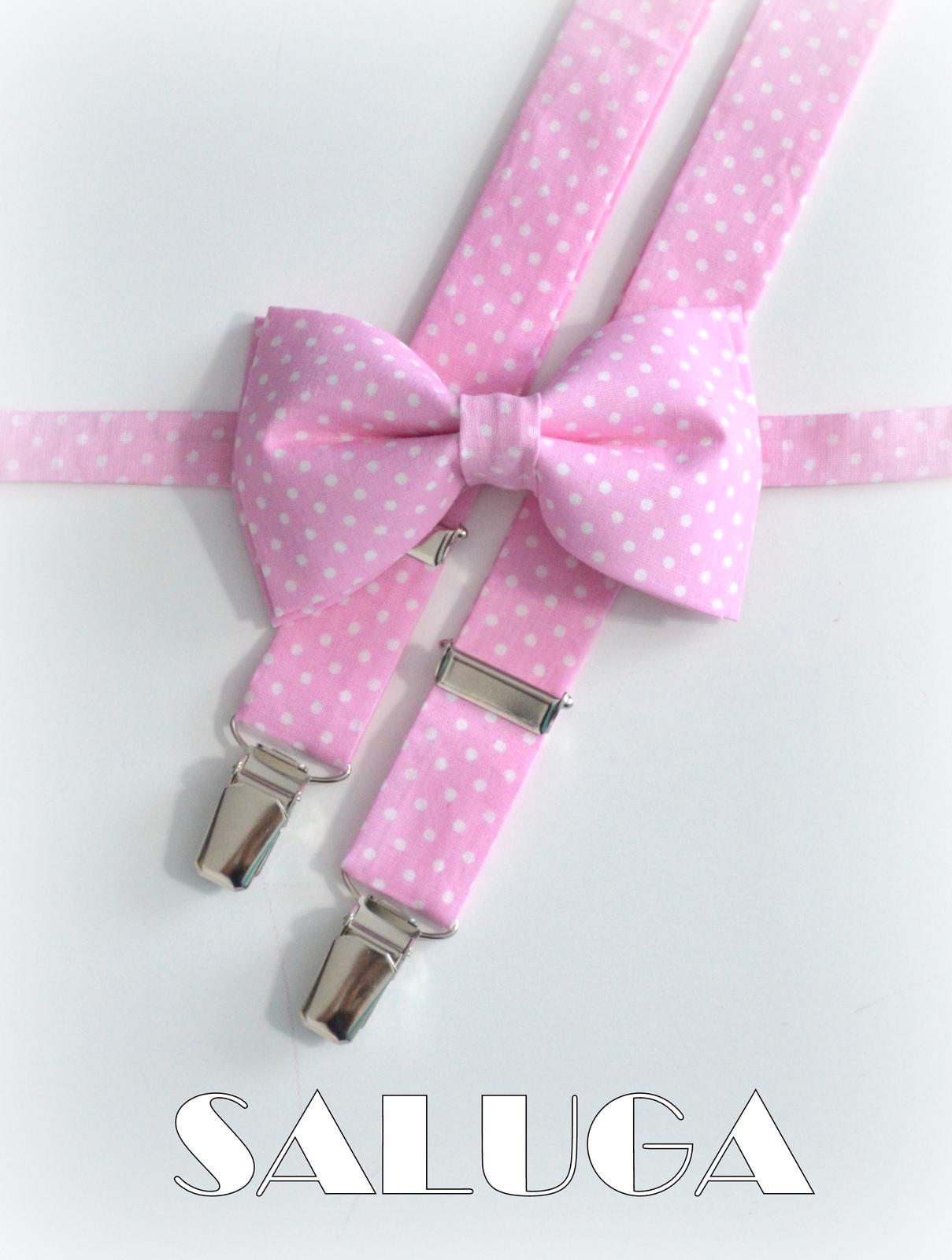 Ružový motýlik na biele bodky a traky - Obrázok č. 1