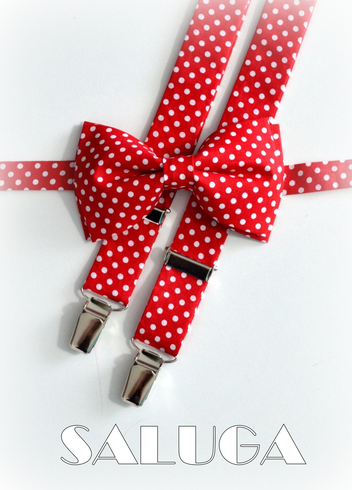 Červený motýlik + traky na biele bodky retro - Obrázok č. 1
