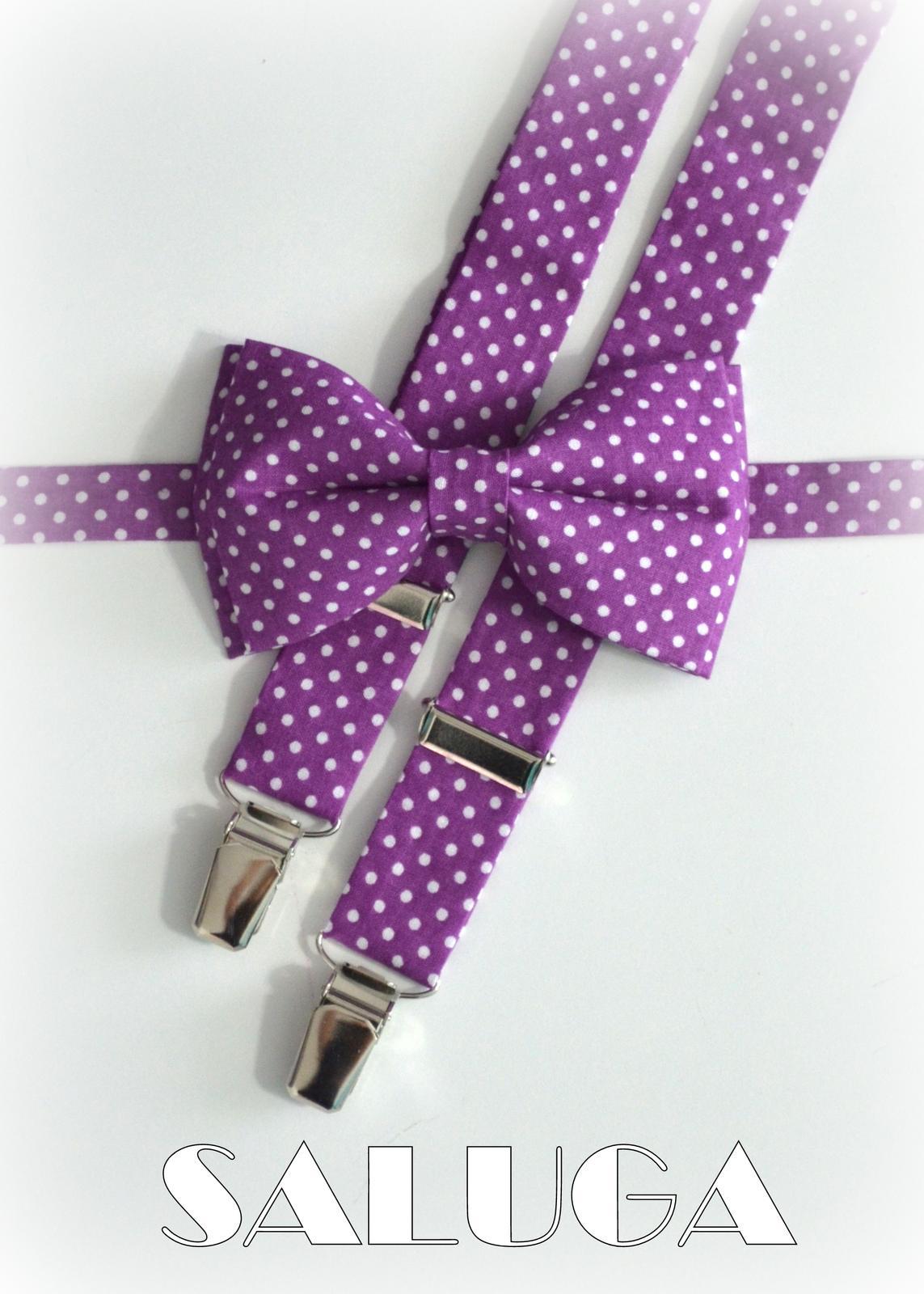 Pánsky motýlik a traky - ultra violet - fialový -  - Obrázok č. 1