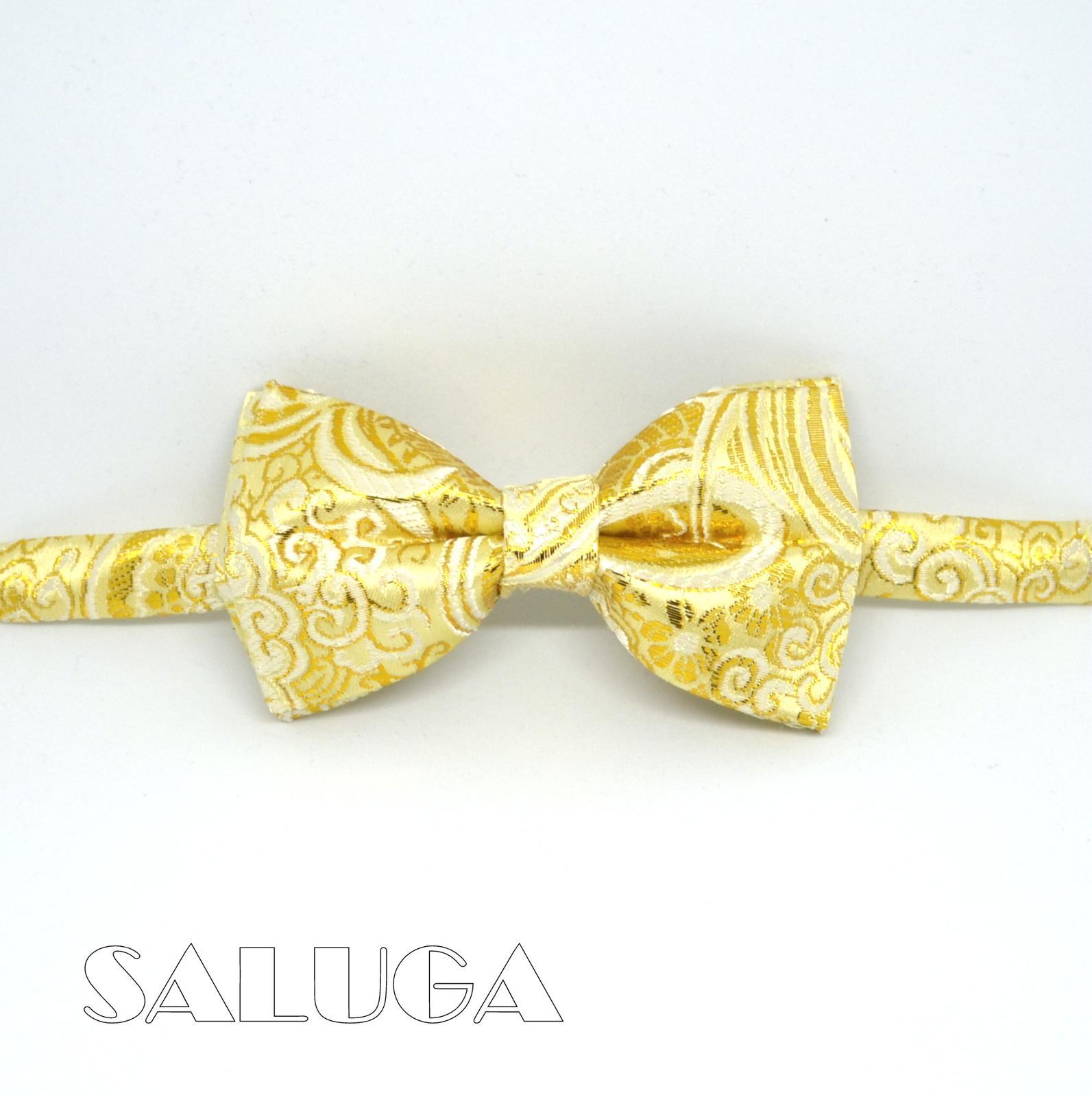 Zlatý vzorovaný pánsky motýlik - svadobný - Obrázok č. 1