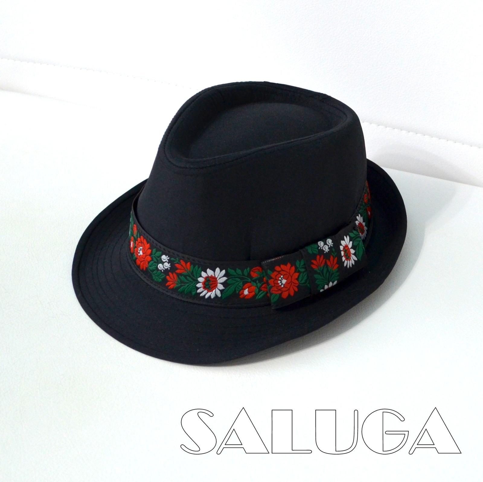 Pánsky klobúk - čierny - folklórny - ľudový - Obrázok č. 1