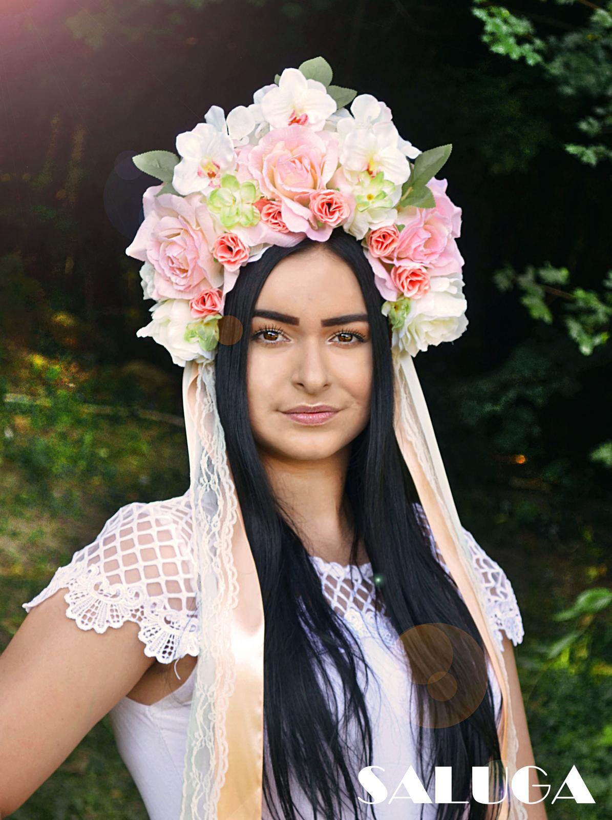Kvetinová parta - čelenka - folklórna - marhuľová - Obrázok č. 1