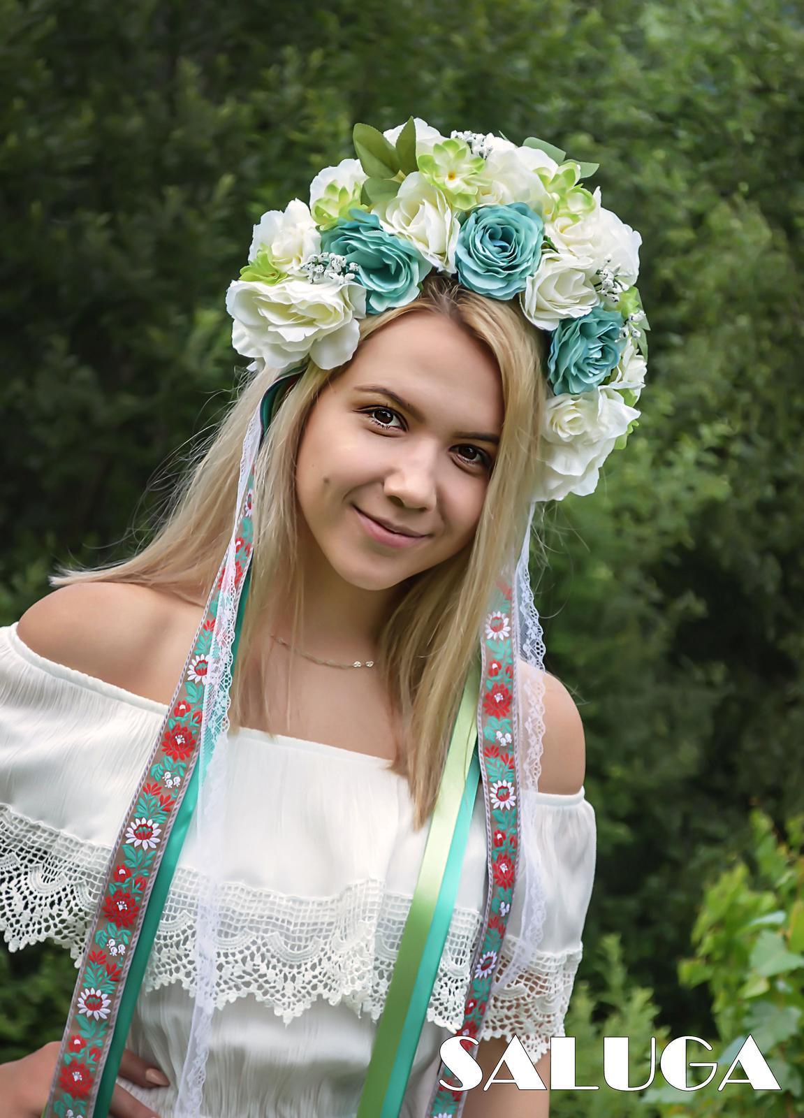 Kvetinová parta - čelenka - folklórna - mentolová - Obrázok č. 1