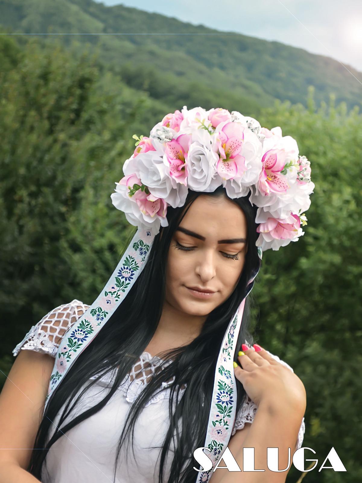 Kvetinová parta - čelenka - folklórna - ružová - Obrázok č. 1