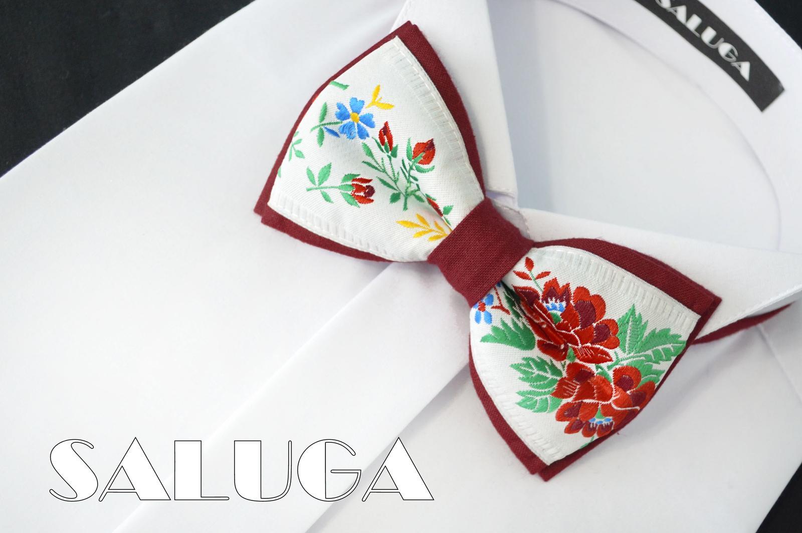 Pánsky folklórny motýlik - bordový - ľudový - Obrázok č. 1