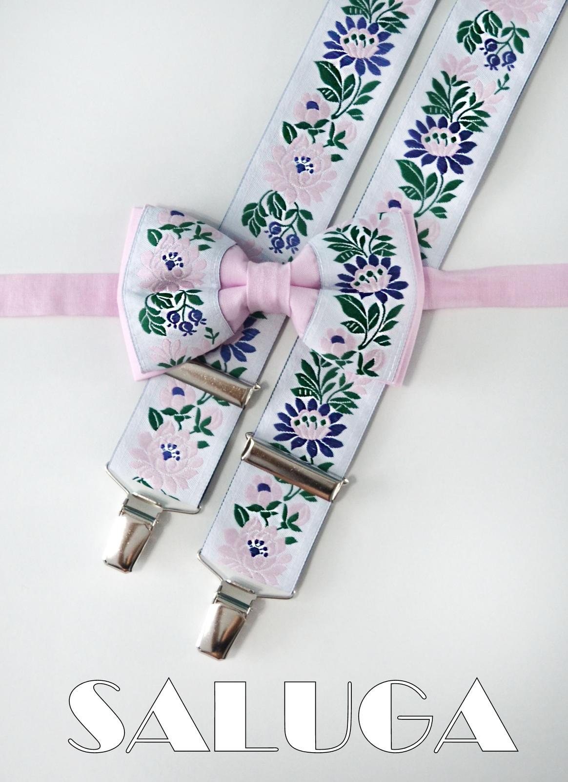 Pánsky folklórny motýlik a traky - ružový - Obrázok č. 1