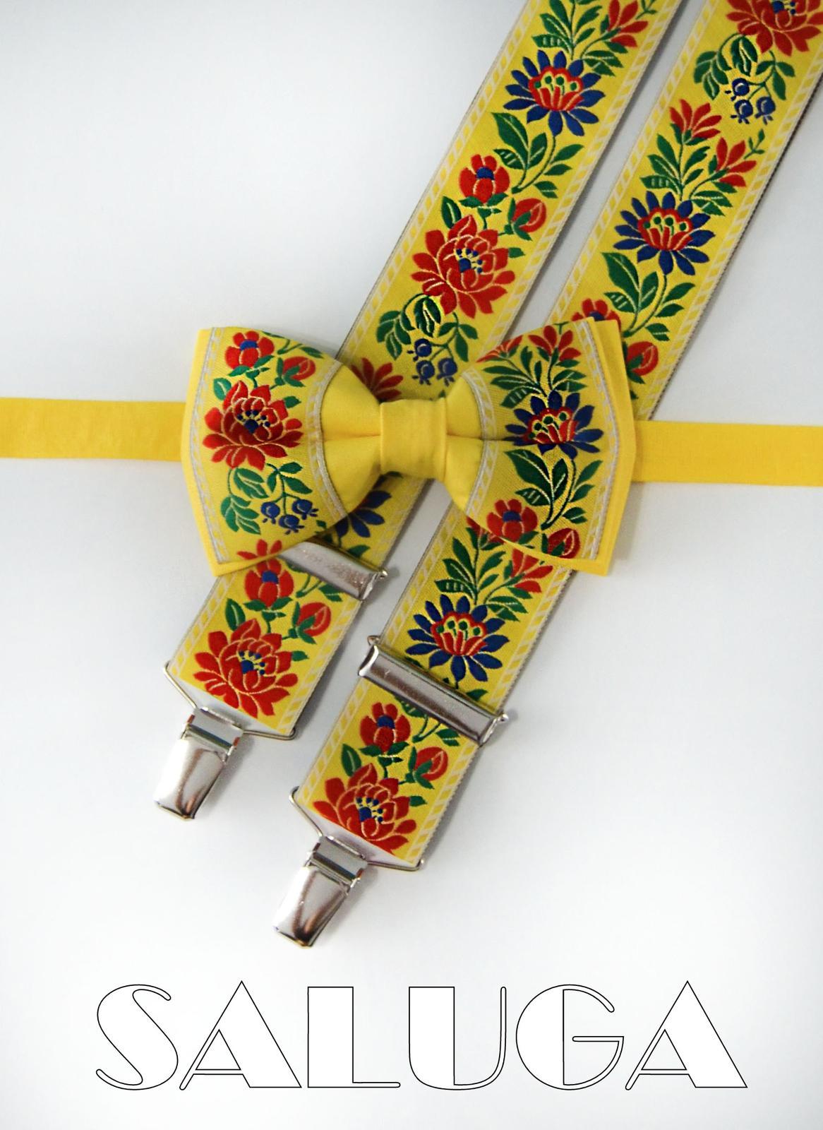 Folklórny pánsky žltý motýlik a traky - folkový  - Obrázok č. 1